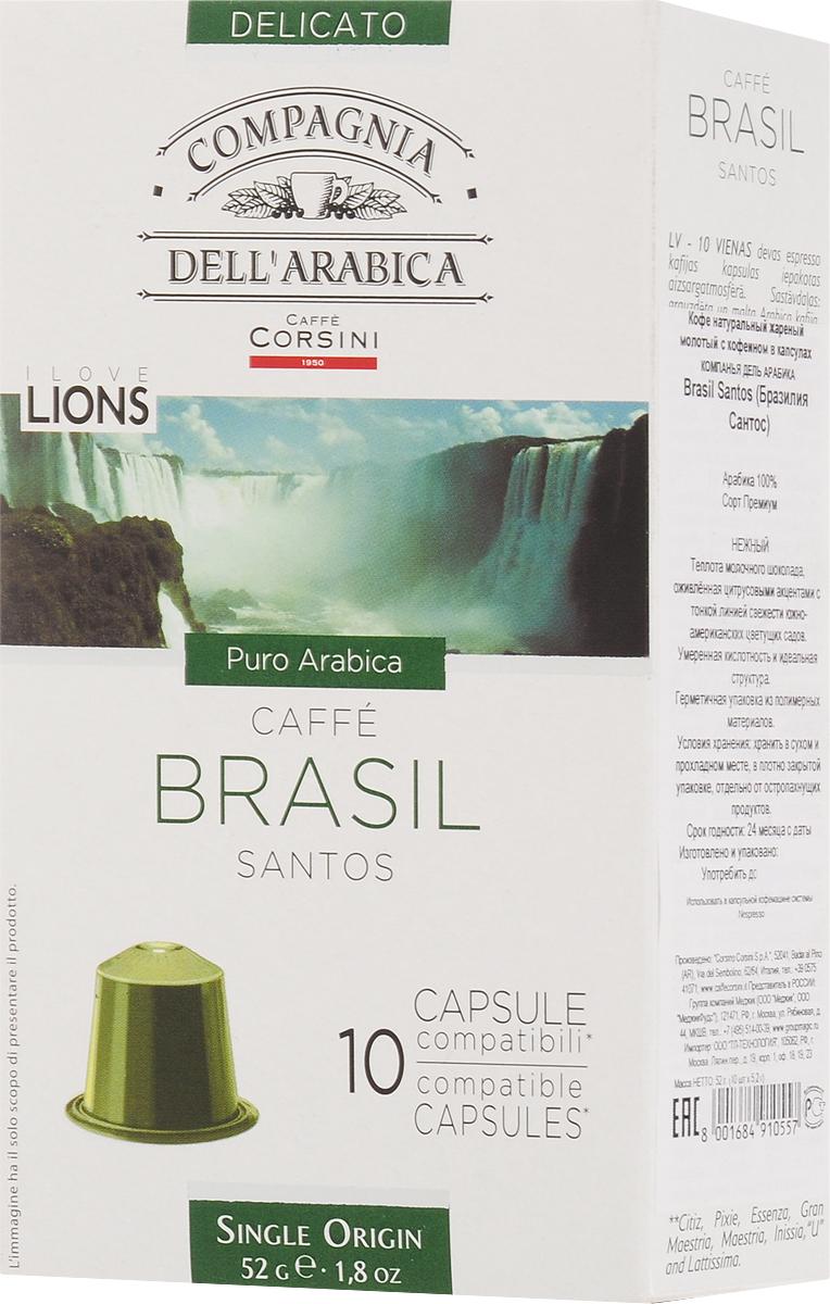 Compagnia DellArabica Brasil Santos кофе в капсулах, 10 шт101246Compagnia DellArabica Brasil Santos - один из самых популярных сортов 100% арабики в мире. Теплота молочного шоколада, оживленная цитрусовыми акцентами тонко сочетается с линией свежести южно-американских цветущих садов. Для этого напитка характерна низкая кислотность и идеальная структура. Капсульная система гарантирует неизменный вкус от чашки к чашке, минимизируя воздействие человека на приготовление напитка.Уважаемые клиенты! Обращаем ваше внимание на то, что упаковка может иметь несколько видов дизайна. Поставка осуществляется в зависимости от наличия на складе.