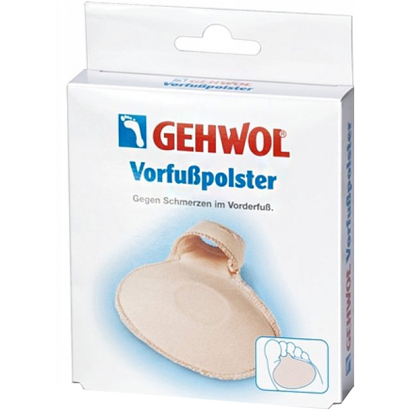Gehwol Vorfuspolster - Подушечка под пальцы 2 штSatin Hair 7 BR730MNПодушечка под пальцы Геволь (Gehwol Vorfuspolster) мягкая латексная стелька с пропиткой и приятной для кожи перлоновой поверхностью, с петлей для фиксации на пальце. Для поддержки передней части стопы.Противодействует болевым ощущениям, защищает переднюю часть стопы и препятствует образованию ороговелостей. Моющаяся. Рекомендуется как защитное средство при ходьбе в обуви на высоком каблуке.Назначение: защищает от болезненного надавливания участков стопы под пальцами, предотвращает образование натертостей, натоптышей, облегчает шаг.Медицинский продукт.Применение: Подушечку надеть на стопу, зафиксировав специальной петлей на пальце.Количество:2 шт