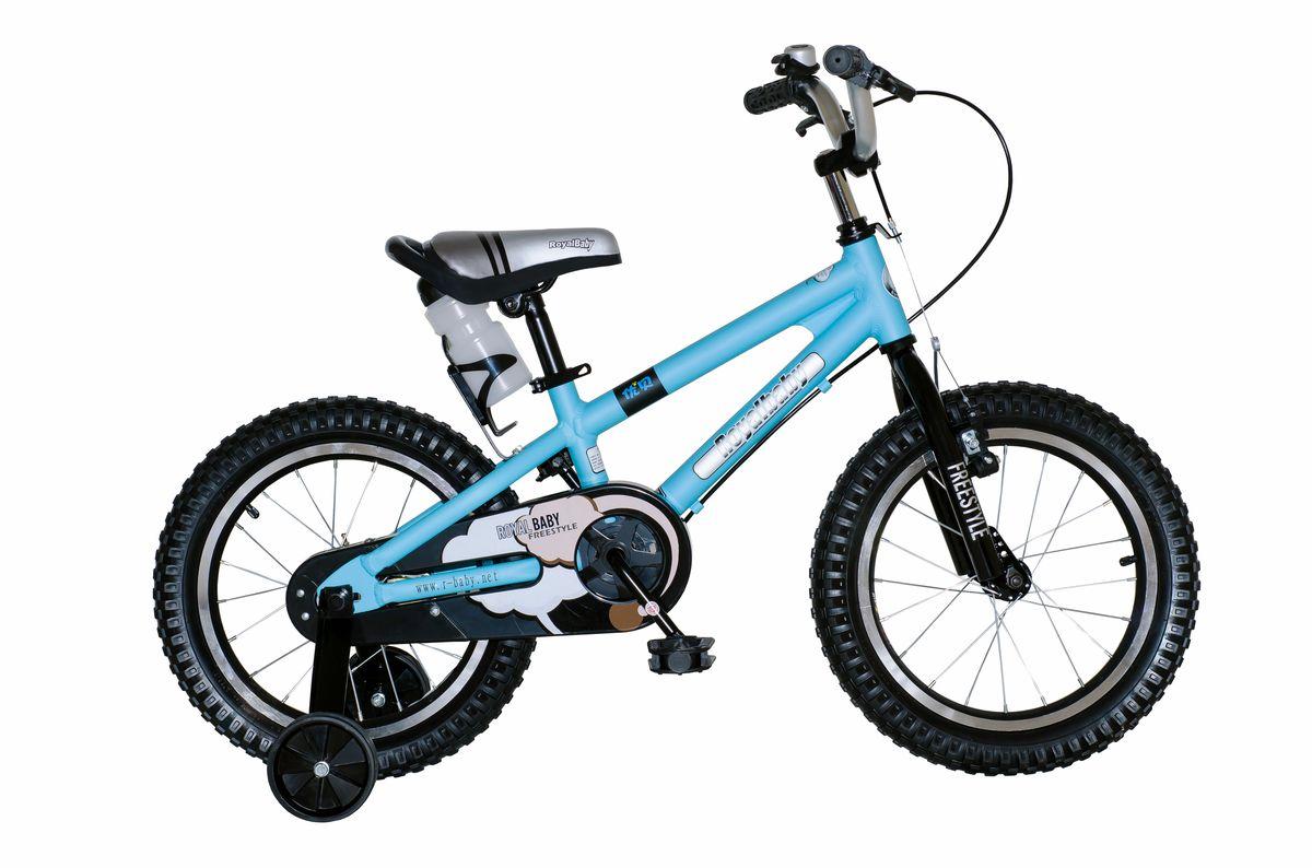 Велосипед детский Royal Baby Freestyle 14, цвет: синийMHDR2G/AСтильный детский велосипед на облегченной раме из алюминия станет любимым транспортом Вашего ребенка. Royal Baby Freestyle 14 сочетает в себе отличное соотношение цена-качество, при котором оба показателя порадуют Вас! Велосипед можно отрегулировать именно под Вашего малыша, что обеспечит комфортную езду на протяжении всего использования. Покрытие рамы – гипоаллергенная краска, которая не осыпается, устойчива к царапинам и не выгорает под прямыми солнечными лучами. Можно смело оставлять велосипед на солнце! Детский велосипед Royal Baby Freestyle 14 – качество по доступной цене! Детский велосипед с приставными колесами. Алюминиевая рама, надувные колеса с алюминиевыми ободами, комплект задних приставных колес, ручной тормоз, звонок, удобное седло. Бутылочка для воды, флягодержатель, насос, комплект ключей и крылья в ПОДАРОК! Для возраста 4-6 лет, рост 105-120