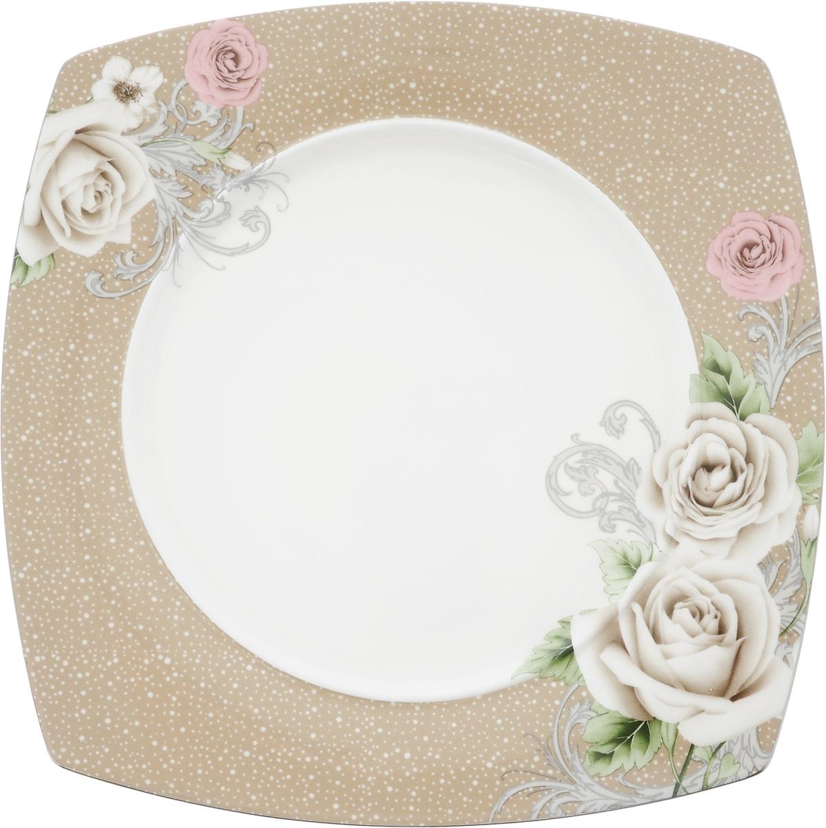 Тарелка Florance, 20 x 20 см83-070-Ф210_рубиновыйТарелка Florance изготовлена из качественного фарфора. Изделие декорировано цветочным рисунком. Такая тарелка отлично подойдет в качестве блюда для сервировки закусок и нарезок, ее также можно использовать как обеденную.