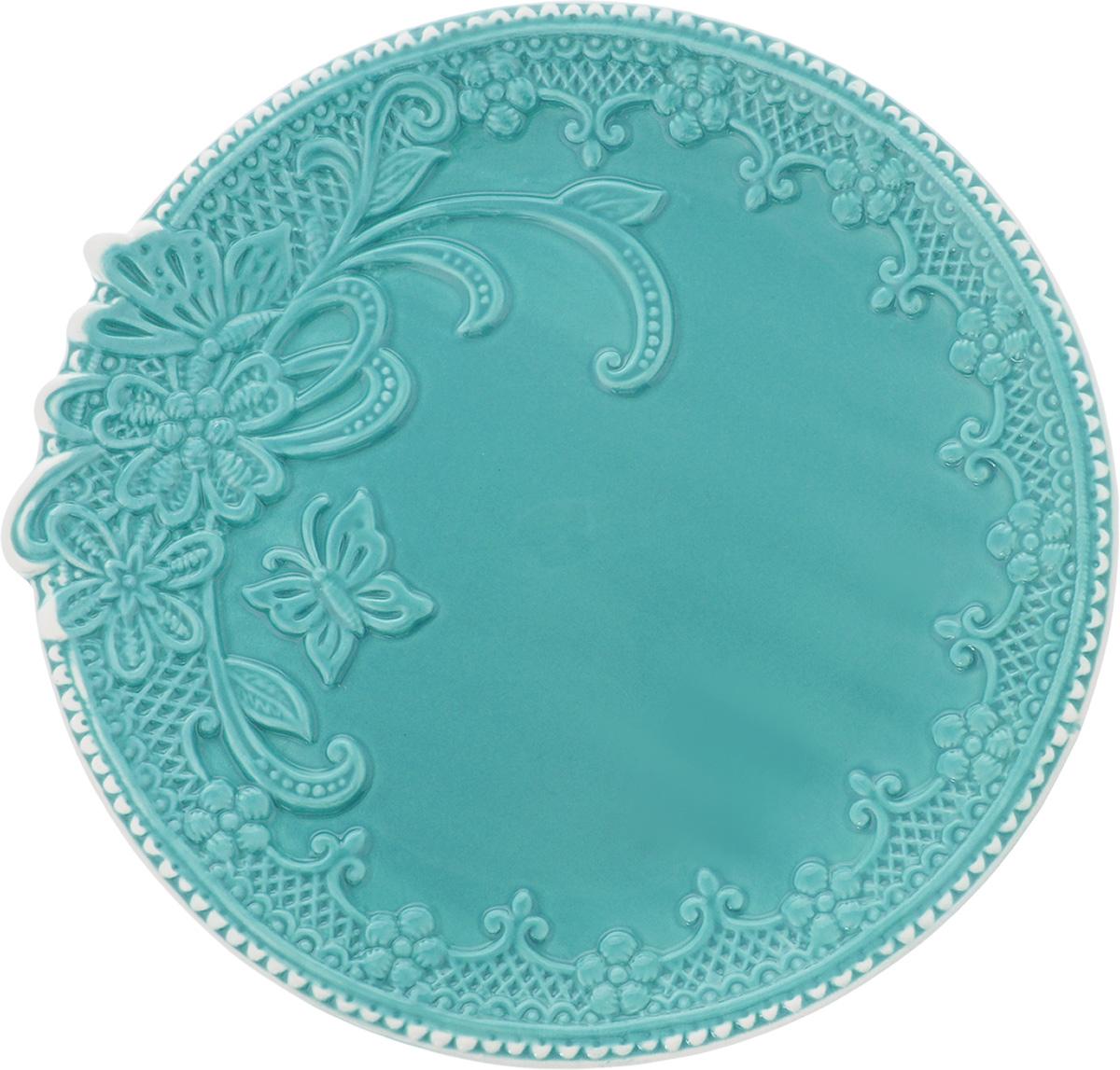 Блюдо Azur, цвет: бирюзовый, белый, диаметр 26 смVT-1520(SR)Блюдо Azur выполнено из качественной керамики и оформлено рельефным узором.Блюдо Azur доставит истинное удовольствие ценителям прекрасного. Яркий дизайн, несомненно, придется вам по вкусу.