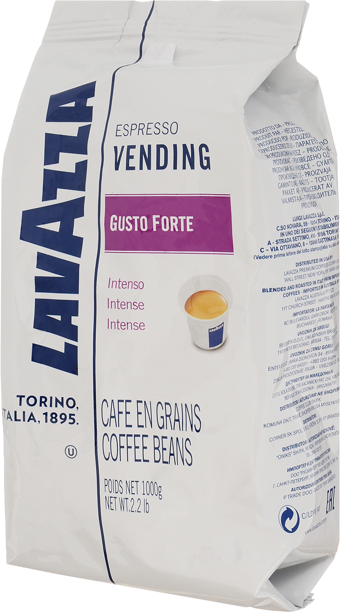Lavazza Gusto Forte Vending кофе в зернах, 1 кг0120710Это самый крепкий кофе линейки Lavazza, состоящий из 100% зерен робусты, собранной в Африке и Азии. Смесь характеризуется выразительным насыщенным вкусом со сладким привкусом, многогранным крепким ароматом с долгим обволакивающим послевкусием и стойкой высокой пенкой. Темная обжарка зерен сообщает терпкость и крепость. Смесь великолепно подходит для приготовления традиционного итальянского эспрессо в кофемашинах любых типов.Уважаемые клиенты! Обращаем ваше внимание на то, что упаковка может иметь несколько видов дизайна. Поставка осуществляется в зависимости от наличия на складе.