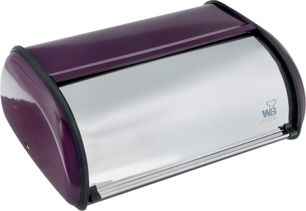 Хлебница Wellberg Felisa, цвет: фиолетовый, стальной, 36 х 24 х 15 смVT-1520(SR)Хлебница Wellberg Felisa, выполненная из высококачественной нержавеющей стали, позволит сохранить ваш хлеб свежим и вкусным. Изделие оснащено плотно закрывающейся крышкой. На задней стенке расположены отверстия для циркуляции воздуха. Стильный яркий дизайн хлебницы выгодно дополнит любой кухонный интерьер. Хлебница надолго сохранит свежесть, мягкость, аромат хлеба и других хлебобулочных изделий.