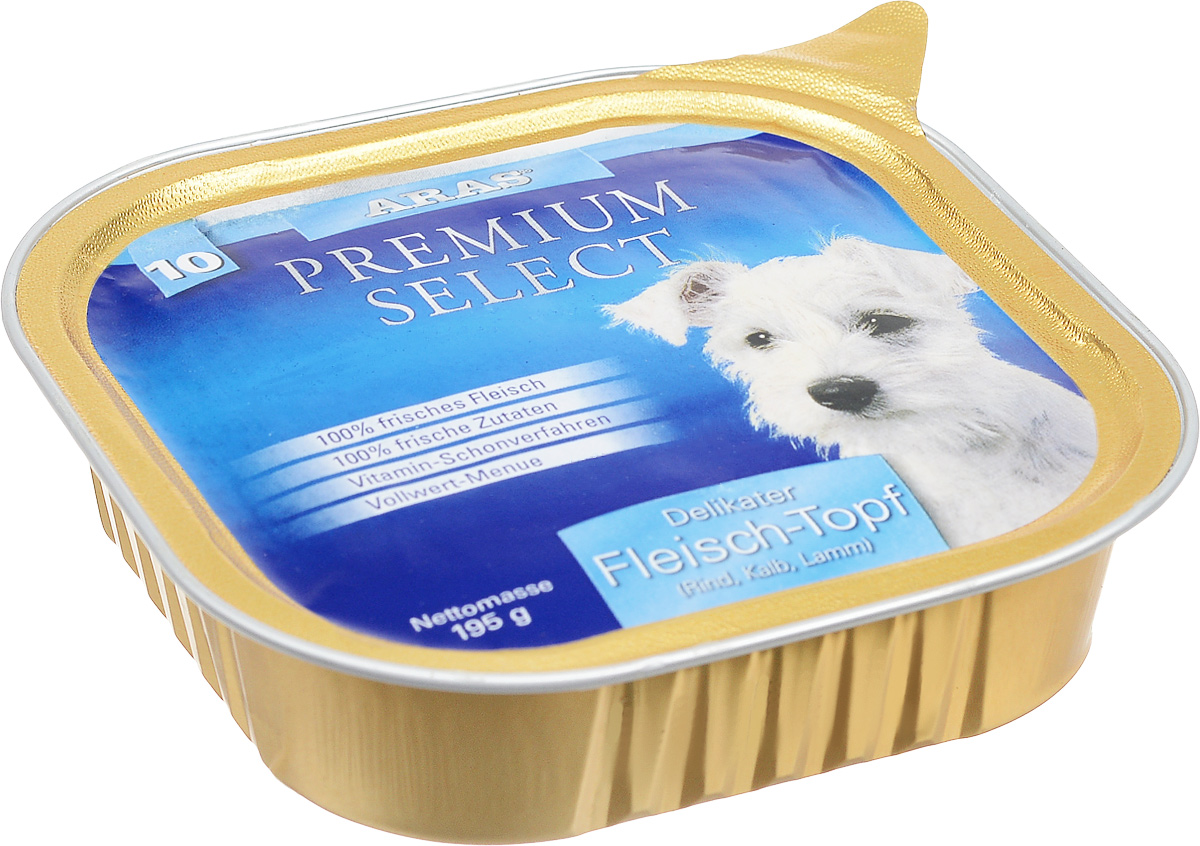 Консервы для собак Aras Premium Select, с говядиной, телятиной и бараниной, 195 г00-00001272Повседневный консервированный корм Aras Premium Select подходим для собак всех пород и всех возрастов. При производстве корма используются исключительно свежие натуральные продукты: мясо и экстракт масла зародышей зерна пшеницы холодного отжима (Bio-Dura). Благодаря уникальной технологии, схожей с технологий Souse Vide, при изготовлении сохраняются все натуральные витамины и минералы. Это достигается благодаря бережной обработке всех ингредиентов при температуре менее 80 градусов. Такая бережная обработка продуктов не стерилизует продуктовые компоненты, поэтому корма не нуждаются ни в каких дополнительных вкусовых добавках и сохраняют все необходимые полезные вещества.Не содержит химических красителей, усилителей вкуса, искусственных консервантов, химических добавок и ГМО. Состав: мясо 98% (говядина 58%, телятина 23%, баранина 19%), экстракт зародышей пшеницы холодного отжима 2%. Пищевая ценность: белки 13,1%, жиры 6,3%, зола 1,9%, клетчатка 0,7%, влажность 77,5%. Товар сертифицирован.
