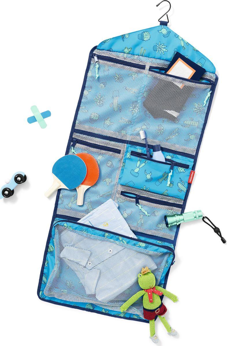 Косметичка детский Myorganizer Cactus, цвет: голубой. IB4049INT-06501Практичный органайзер, который станет помощником как для детей, так и для их родителей. В собранном виде органайзер занимает мало места, пряжки надежно фиксируют конструкцию, так что она не распадется у вас в руках. Для комфортной переноски сверху предусмотрена небольшая ручка. В разобранном виде органайзер легко прикрепляется к любому выступу с помощью небольшой вешалки. В общей сложности, содержит 5 сетчатых кармашков на молнии (1 большой в нижнем отделе, и по 2 в среднем и верхнем), а также съемный карман на молнии из непрозрачной ткани. В органайзер поместятся все дорожные принадлежности, фломастеры, календарик, паста и зубная щетка, а также небольшие игрушки. Специальная плашка внутри позволит ребенку вписать собственное имя. Материал: прочный водоотталкивающий полиэстер премиум класса. Объем – 5 литров.