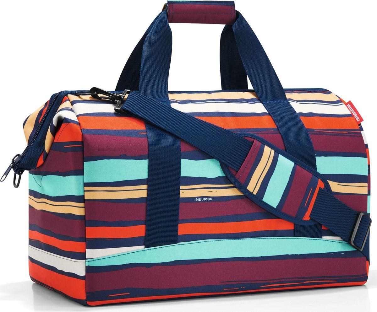 Сумка женская Reisenthel Allrounder L Artist Stripes, цвет: мультиколор. MT305823008Практичная и вместительная сумка для спорта и путешествий. Объемные внутренние стенки из плотной ткани. Форма сумки напоминает старинные врачебные саквояжи. - объемное основное отделение на молнии; - встроенные металлические скобы фиксируют сумку в открытом положении;- 6 внутренних карманов для организации вещей;- широкие ручки с застежкой на липучке;- плечевой ремень с регулируемой длиной;- объем – 30 литров.