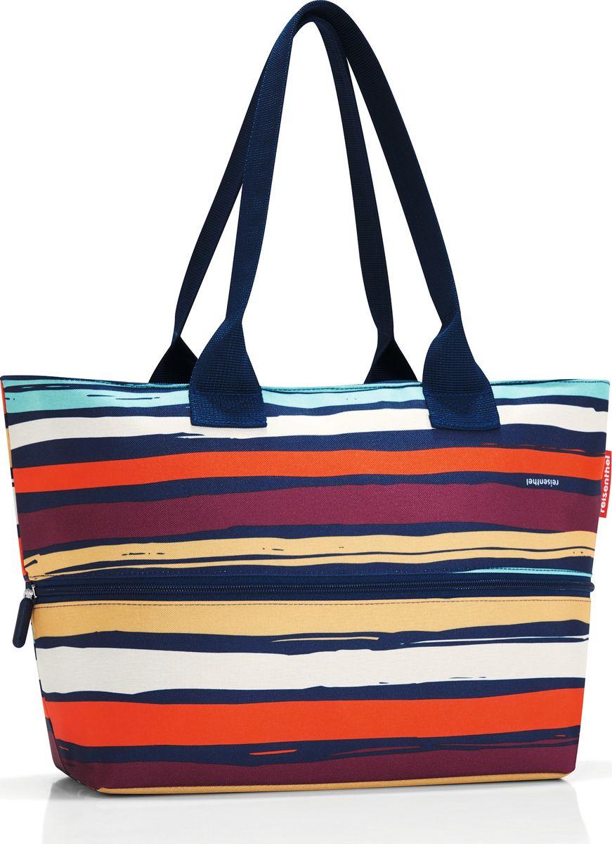 Сумка женская Reisenthel Shopper E1 Artist Stripes, цвет: мультиколор. RJ3058EQW-M710DB-1A1Удобная сумка для шоппинга и путешествий, способная изменять свой размер. - в основе конструкции - специальная молния, расстегнув которую вы увеличиваете вместимость сумки с 12 до 18 литров;- внутри предусмотрен карман на молнии для мелочей;- две удобные ручки для переноски на плече.