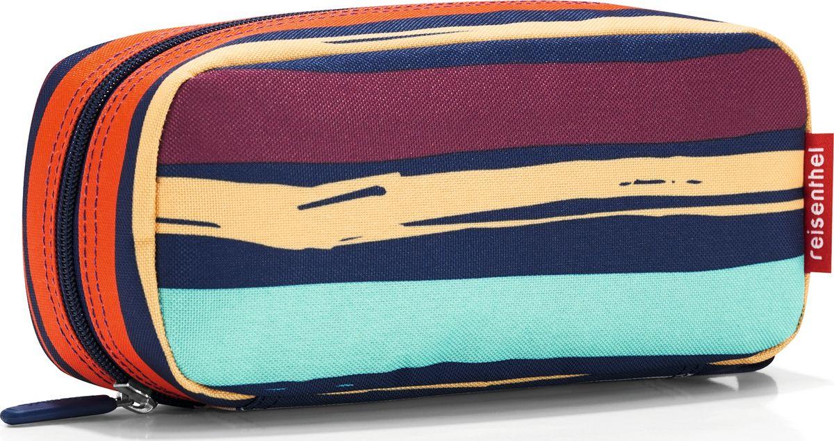 Косметичка женская Reisenthel Multicase Artist Stripes, цвет: темно-синий, оранжевый. WJ3058INT-06501Удобная и вместительная косметичка, которую можно использовать как пенал. Застегивается на молнию. Два внутренних кармана и один плоский, также застегивается на молнию. Внутренний объем - 1,5 литра.
