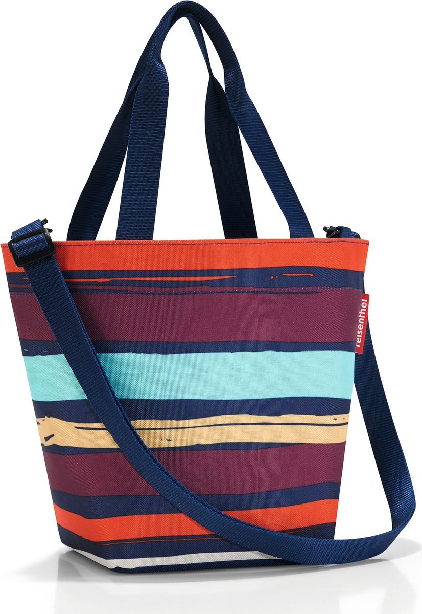 Сумка женская Reisenthel Shopper XS Artist Stripes, цвет: мультиколор. ZR3058EQW-M710DB-1A1Симпатичная сумка для повседневного использования: широкие удобные лямки для переноски в руках и удобный плечевой ремешок с регулируемой длиной, который можно отстегнуть. Объем 4 литра позволяет вместить все необходимые мелочи. Застегивается на молнию. Внутри - кармашек на молнии.