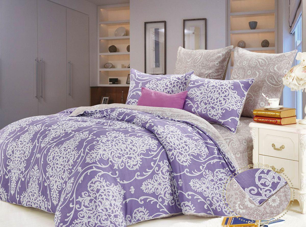 Комплект постельного белья KAZANOV.A. Отис, цвет: фиолетовый, сатин, евро68/5/3Комплекты постельного белья «KAZANOV.A.» из сатина имеют превосходные характеристики: 100% сатин высокого качества, шелковистый блеск, повышенная прочность, насыщенный цвет. Натуральные длинные волокна хлопка, которые используются в производстве материала для постельного белья, имеют высокую плотность, что и увеличивает износостойкость комплектов. Для нанесения рисунка на ткани используется реактивная и принтерная печать из современных экологически безопасных красителей. Постельное белье комфортно для тела, гипоаллергенно, легко впитывает частички влаги, за счёт чего оно хорошо охлаждает, кожа дышит, сон становится крепким и здоровым. Великолепно выполнена строчка, отделка витым кантом, молния на всех наволочках и по ширине пододеяльника, точно подобранный материал ткани-компаньона, простота в эксплуатации- все эти свойства превратили традиционный комплект постельного белья в изысканное произведение искусства. Подарите себе здоровый и спокойный сон вместе с комплектами постельного белья «KAZANOV.A.»!