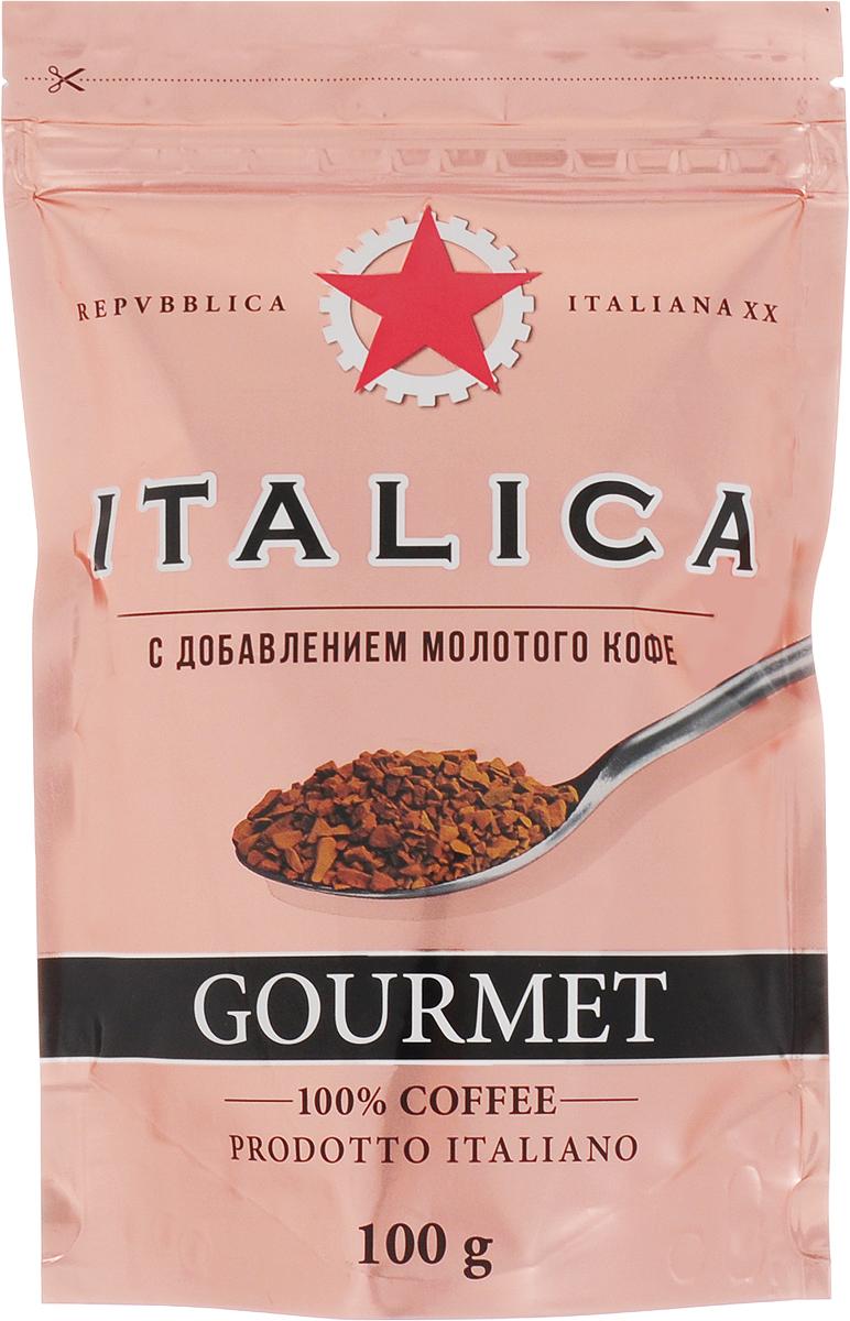 Italica Gourmet кофе растворимый сублимированный с добавлением молотого, 100 г0120710Italica Gourmet создан по технологии Hi-Lite Antioxidant Advantage, позволяющей сохранить все полезные свойства зеленого кофе. В его состав входит натуральный растворимый кофе и 20% жареного молотого кофе. Инновационный кофе Italica Gourmet - это исключительный вкус, восхитительный аромат и высокое содержание натуральных антиоксидантов.