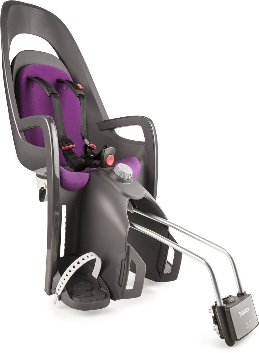 Детское велокресло Hamax Caress W/Lockable Bracket, цвет: серый, фиолетовый553006Спинка настраивается по высоте. Наклон изменяется в положение сон на 20°.Новая система подножек регулируется одной рукой. Задние светоотражатели для большей безопасности на дорогах.Возможность монтажа на велосипед у которого нет багажникаМаксимальная нагрузка 22 кг. Перевозка детей младше 9 месяцев не рекомендуется.Запирающийся крепёжный кронштейн.