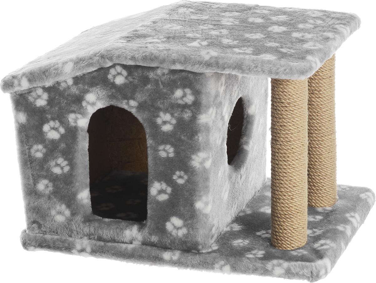 Игровой комплекс для кошек Меридиан Патриция, с домиком и когтеточкой, цвет: серый, белый, бежевый , 63 х 40 х 41 см101246Игровой комплекс для кошек Меридиан Патриция выполнен из высококачественного ДВП и ДСП и обтянут искусственным мехом. Изделие предназначено для кошек. Ваш домашний питомец будет с удовольствием точить когти о специальные столбики, изготовленные из джута. А отдохнуть он сможет в оригинальном домике.