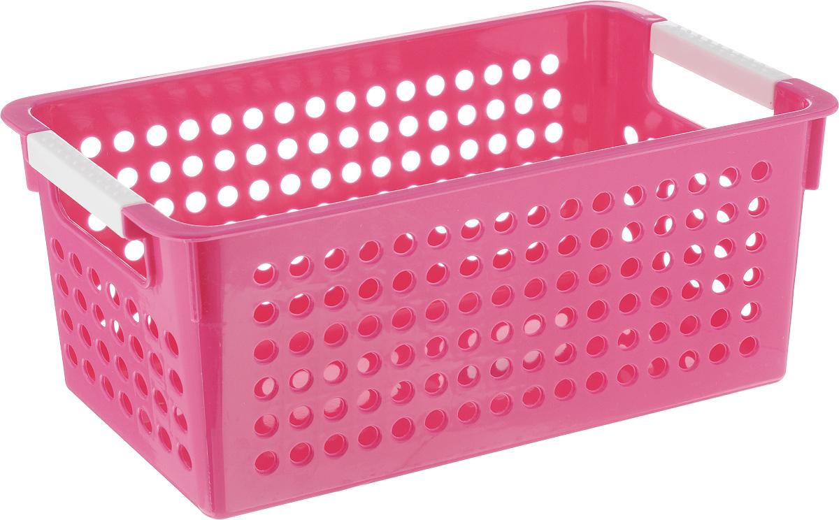 Корзина для мелочей Sima-land Решето, цвет: розовый, 29 х 14 х 12 см74-0060Корзина для мелочей Sima-land Решето изготовлена из прочного пластика с перфорированными стенками и сплошным дном. Корзина снабжена двумя ручками для переноски. В ней удобно хранить различные мелочи: бытовые предметы, аксессуары для шитья, принадлежности для ванны и кухни. Такая корзина обязательно пригодится в любом хозяйстве.