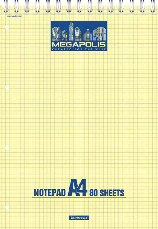 Erich Krause Блокнот Megapolis 80 листов в клетку72523WDБлокнот Erich Krause Megapolis на верхней спирали прекрасно подойдет для ежедневных заметок. Задняя картонная часть обложки сохранит аккуратный вид блокнота на всем протяжении его использования. Внутренний блок состоит из 80 листов качественной высокоплотной желтой бумаги в голубую клетку. Благодаря микроперфорации листы с легкостью отрываются от блока.