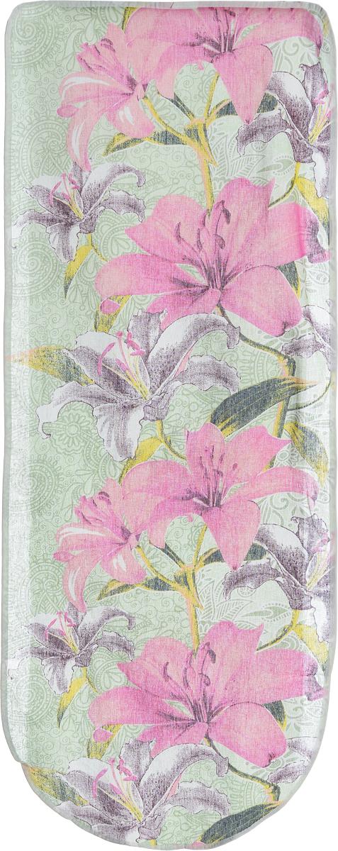 Чехол для гладильной доски Eva Лилии, цвет: зеленый, розовый, 125 х 47 см. Е13GC204/30Хлопчатобумажный чехол Eva Лилии для гладильной доски с поролоновым слоем продлит срок службы вашей гладильной доски. Чехол снабжен стягивающим шнуром, при помощи которого вы легко отрегулируете оптимальное натяжение чехла и зафиксируете его на рабочей поверхности гладильной доски.При выборе чехла учитывайте, что его размер должен быть больше размера покрытия доски минимум на 5 см. Рекомендуется заменять чехол не реже 1 раза в 3 года. Размер чехла: 125 х 47 см. Максимальный размер доски: 116 х 40 см.