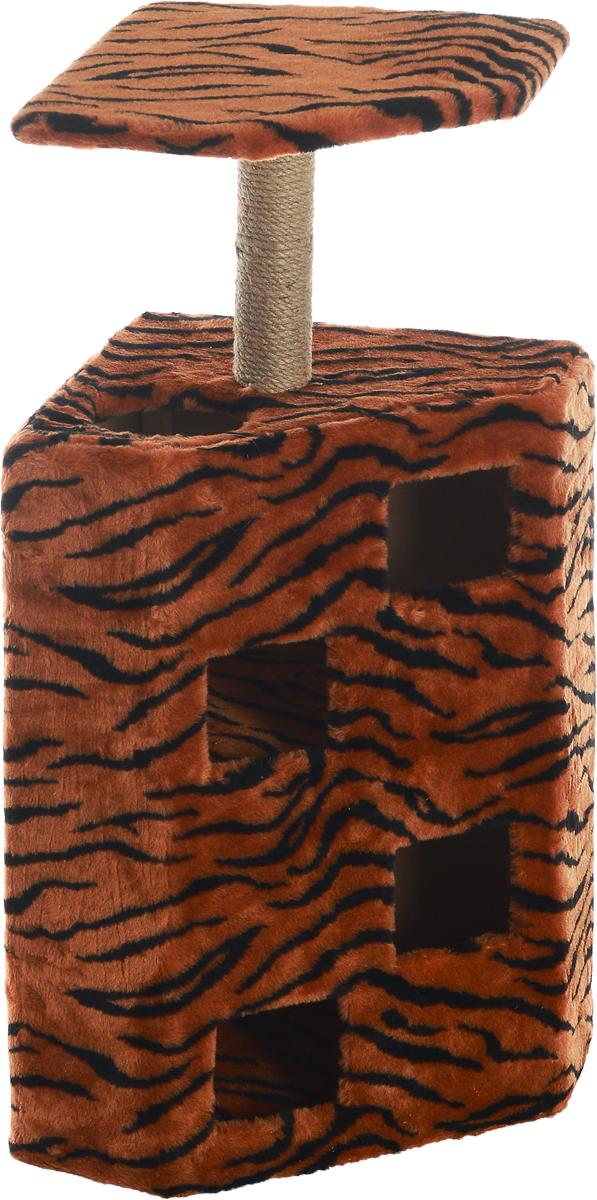 Домик-когтеточка Меридиан Муравейник, цвет: оранжевый, черный, бежевый, 58 х 44 х 125 см12171996Домик-когтеточка Меридиан Муравейник выполнен из высококачественных материалов. Изделие предназначено для кошек. Домик обтянут искусственным мехом, а столбики изготовлены из джута. Корпус выполнен из ДВП и ДСП. Ваш домашний питомец будет с удовольствием точить когти о специальные столбики, а отдохнуть он сможет в домике или на полке. Домик-когтеточка Меридиан Муравейник принесет пользу не только вашему питомцу, но и вам, так как он сохранит мебель от когтей и шерсти.Общий размер: 58 х 44 х 125 см. Размер полки: 52 х 39 см.
