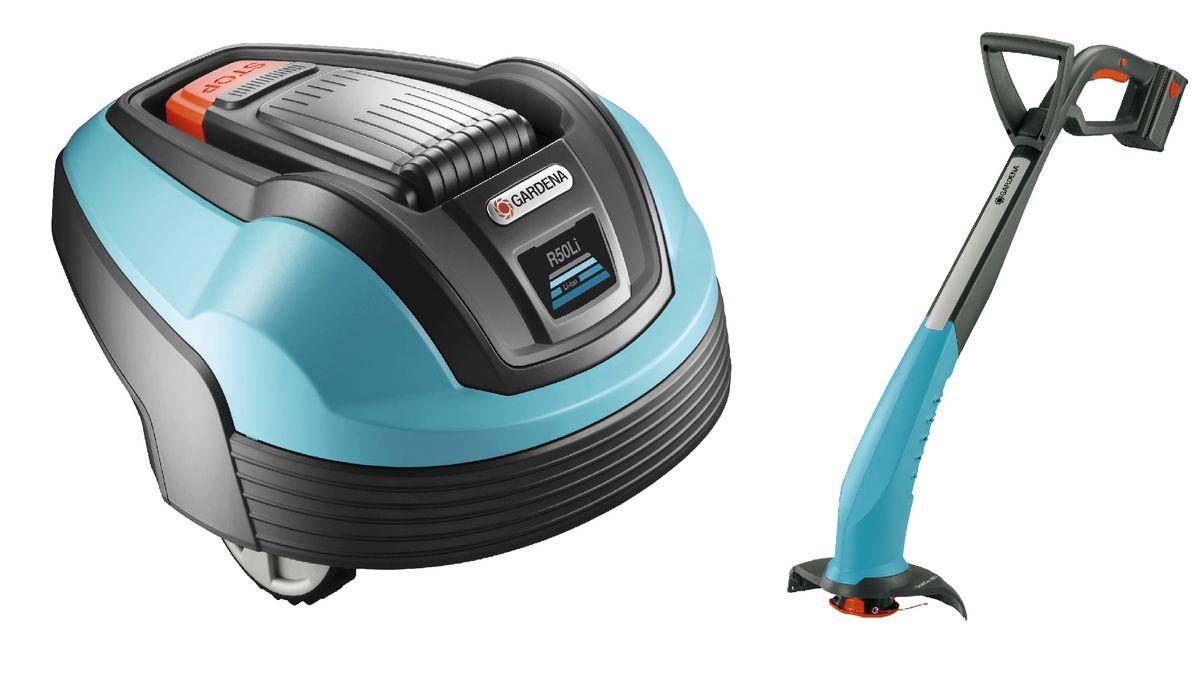 Газонокосилка-робот Gardena R50Li + Триммер аккумуляторный Gardena AccuCut 300NiMn. 07731-20.000.0080653Газонокосилка-робот Gardena R50Li предназначена для небольших газонов площадью до 500 м2. Работает от батареи. Отличается малошумностью, экологичностью и низким потреблением энергии. Движется в различные стороны в пределах ограничительного провода. Скашивает траву и оставляет ее на газоне в качестве удобрения. Газонокосилка-робот может использоваться в любую погоду. Предусмотрена сигнализация и блокировка с помощью ПИН-кода.Комплектация:- газонокосилка-робот,- зарядная станция,- источник питания,- кабель низкого напряжения (10 м),- контурный провод (150 м),- колышки (200 шт),- разъемы (5 шт),- дополнительные ножи (3 шт),- винты зарядной станции (3 шт),- шестигранный ключ,- соединители (7 шт),- руководство по эксплуатации и краткое руководство,- наклейка с предупреждением (2 шт),- линейка для прокладки ограничительного провода (линейка снимается с корпуса).Минимальная высота стрижки: 20 мм.Максимальная высота стрижки: 50 мм.Ширина стрижки: 17 см.Обрабатываемая площадь в час: 42 м2.Аккумуляторный триммер Gardena AccuCut 300NiMn предназначен для скашивания травы на небольших территориях. Легкий и маневренный, он отлично подходит для подравнивания газона вокруг деревьев, дорожек и прудов. Работает на NiMH-аккумуляторе. Время непрерывного использования около 25 минут. Комплектация:- автоматическая триммерная головка (диаметр корда 1,5 мм),- зарядное устройство,- аккумулятор (NiMH, 18 В, 1,6 А*ч).