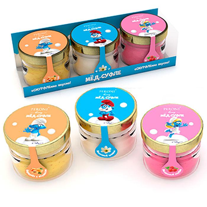 Peroni Смурфики набор мед-суфле, 3 шт по 30 мл0120710Набор из трех мини-баночек с медом-суфле - абрикосовый, малиновый и молочный цветок.