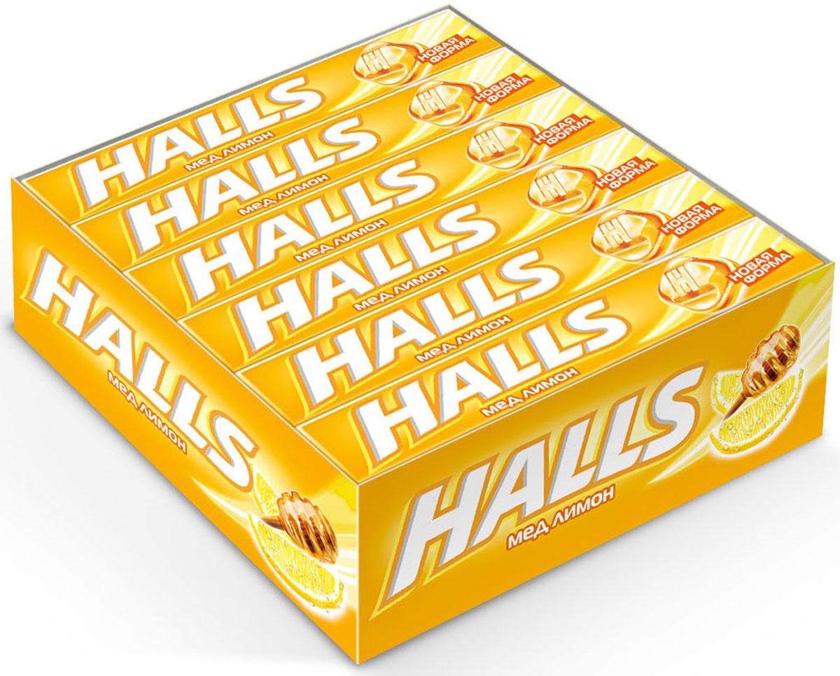 Halls Мед Лимон леденцы, 12 пачек по 25 г