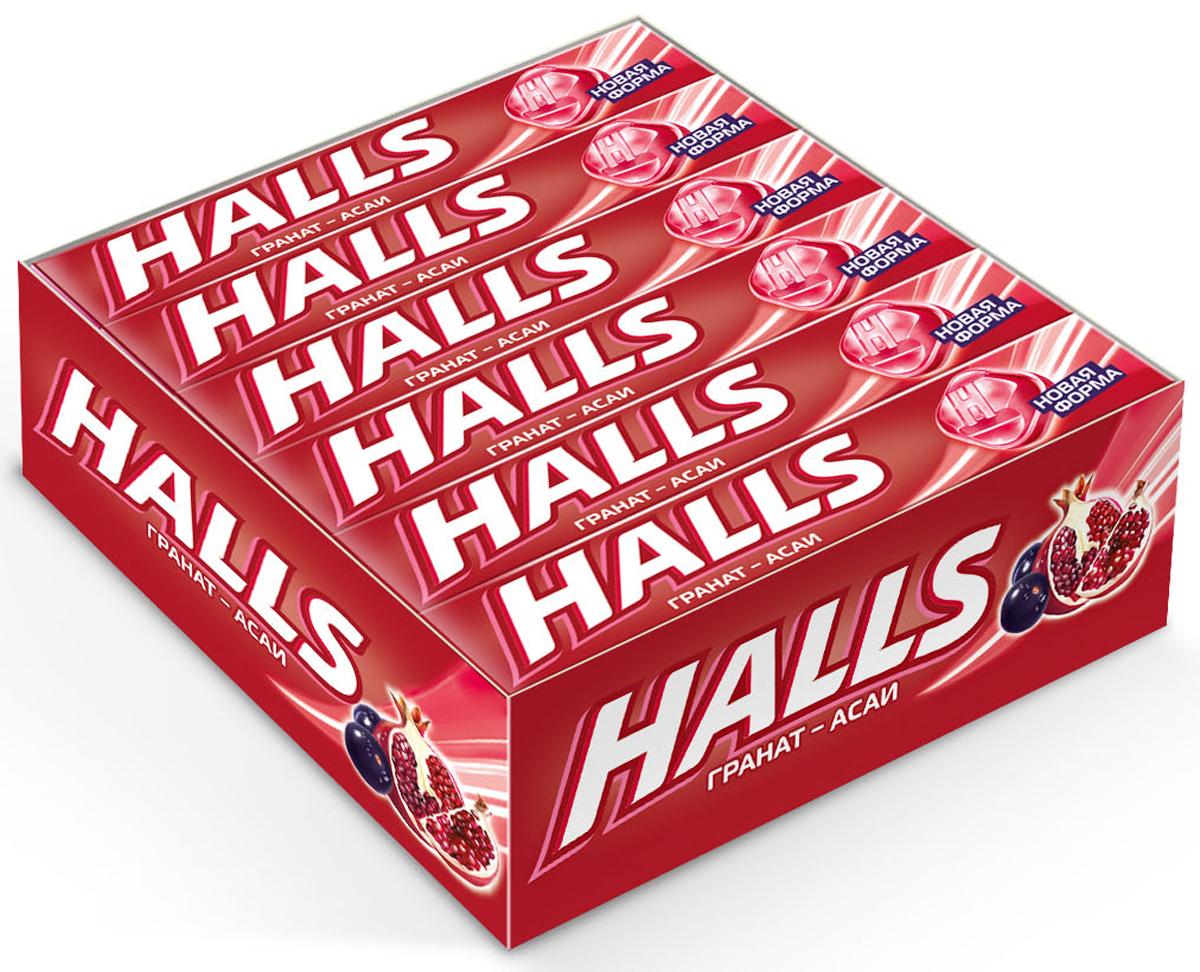Halls карамель леденцовая со вкусом граната и ягод асаи, 12 пачек по 25 г