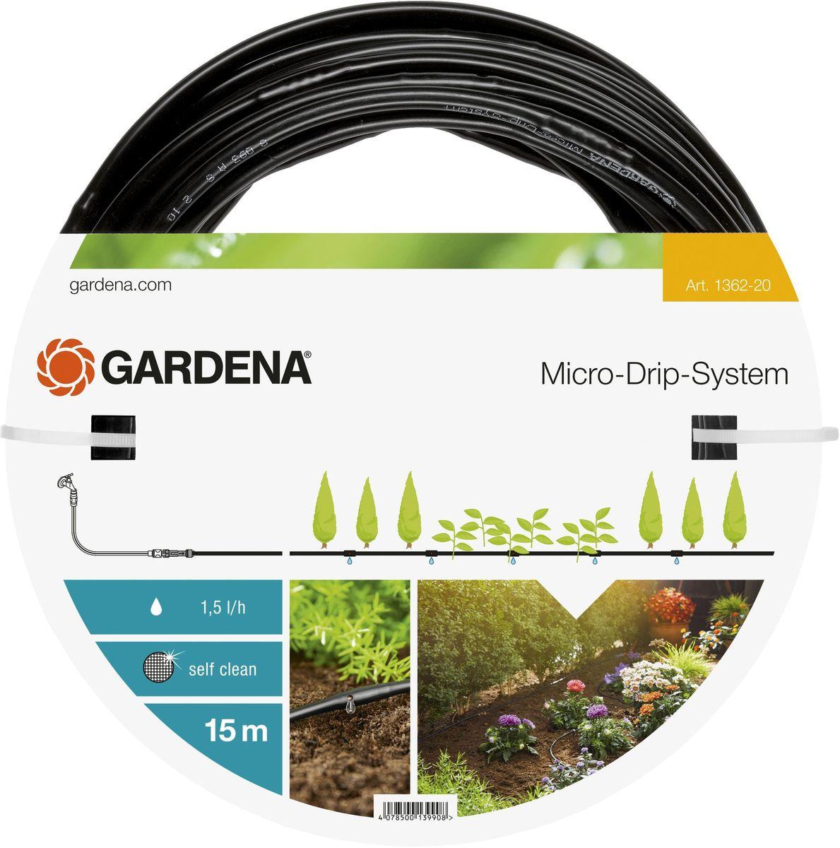 Шланг Gardena, сочащийся, для наземной прокладки, 4,6 мм (3/16), длина 15 м01362-20.000.00Шланг сочащийся Gardena предназначен для полива небольших участков с цветами или овощами, а также для полива посаженных в ряд растений. Расстояние между отверстиями составляет 30 см. Каждая капельница обеспечивает бережный полив с расходом воды 1,5 л/ч. Благодаря использованию инновационной лабиринтной технологии, капельницы являются самоочищающимися. Благодаря небольшому диаметру 4,6 мм (3/16 дюйма) шланг характеризуется особой многофункциональностью и простотой монтажа. При помещении мастер-блока в центре с помощью такого шланга можно увеличить длину базового комплекта, максимальная длина шланга при этом составит 30 м.Шланг сочащийся имеет длину 15 м и поставляется без соединительных элементов.