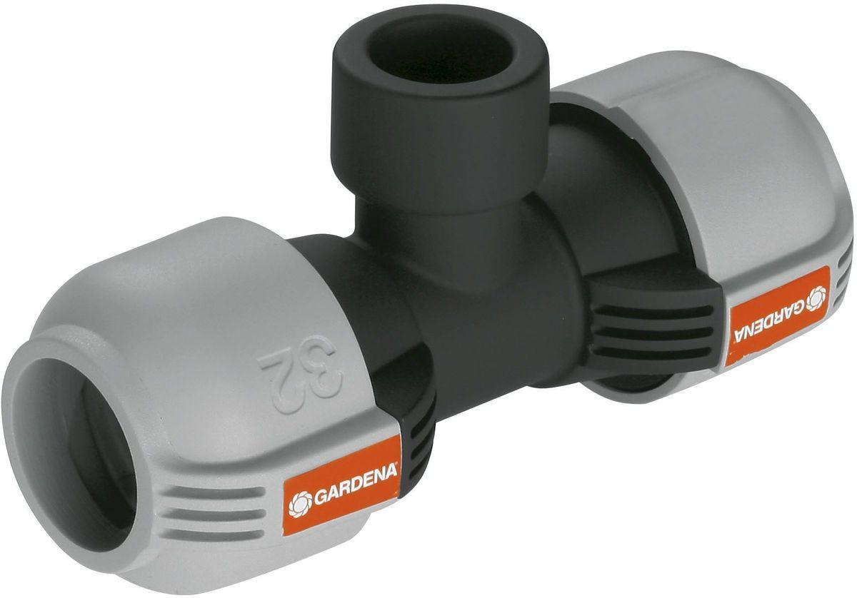 """Соединитель Gardena, T-образный, внутренняя резьба 32 мм х 3/402791-20.000.00Соединитель T-образный Gardena предназначен для подсоединения выдвижного дождевателя к подающей линии. Технология Quick & Easy обеспечивает быстрое и надежное соединение. Легко подсоединяется без использования инструментов путем поворота фитинга на 140°.Приспособление имеет внутреннюю резьбу 32 мм х 3/4"""". Изготовлен из качественного материала, имеет длительный период эксплуатации."""