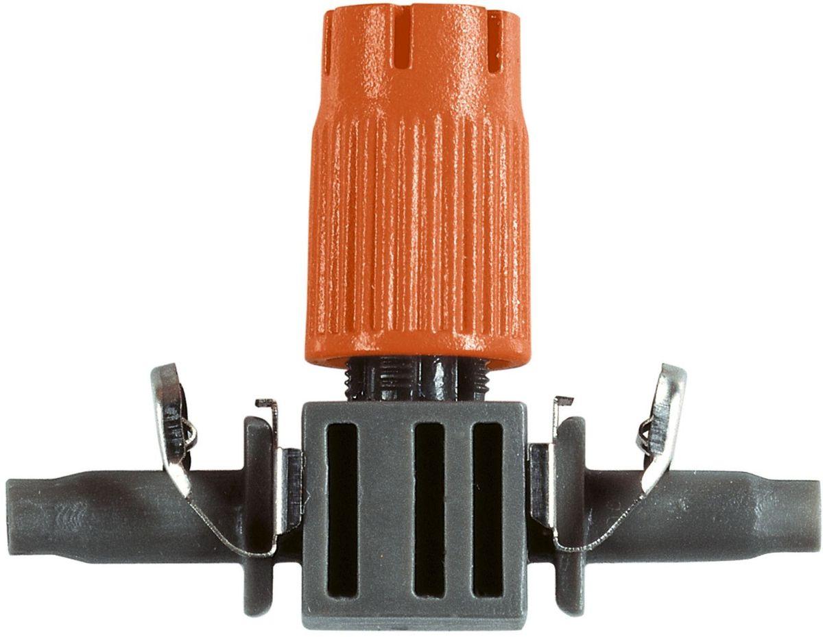 Микродождеватель Gardena, для малых площадей, резьба 4,6 мм (3/16), 10 штА00319Микродождеватель для малых площадей Gardena является элементом системы микрокапельного полива Gardena Micro-Drip-System и предназначен для направленного полива кустарников. Предусмотрена возможность регулировки диаметра зоны полива в диапазоне 10-40 см. Благодаря патентованной технологии быстрого подсоединения Quick & Easy, крепление капельницы к подающему шлангу диаметром 4,6 мм (3/16 дюйма) выполняется особенно просто. Съемный регулируемый наконечник снабжен встроенной иглой для прочистки дождевателя в случае его засорения.В комплект поставки входят десять микродождевателей.