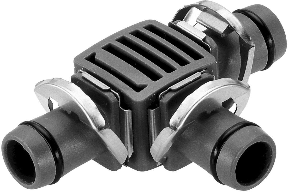 Соединитель Gardena, Т-образный, резьба 13 мм (1/2), 2 шт08329-29.000.00Соединитель Т-образный Gardena является элементом системы микрокапельного полива Gardena Micro-Drip-System и предназначен для разделения магистрального шланга на несколько линий. Благодаря патентованной технологии быстрого подсоединения Quick & Easy, установка соединителя чрезвычайно проста. В комплект поставки входят два Т-образных соединителя.