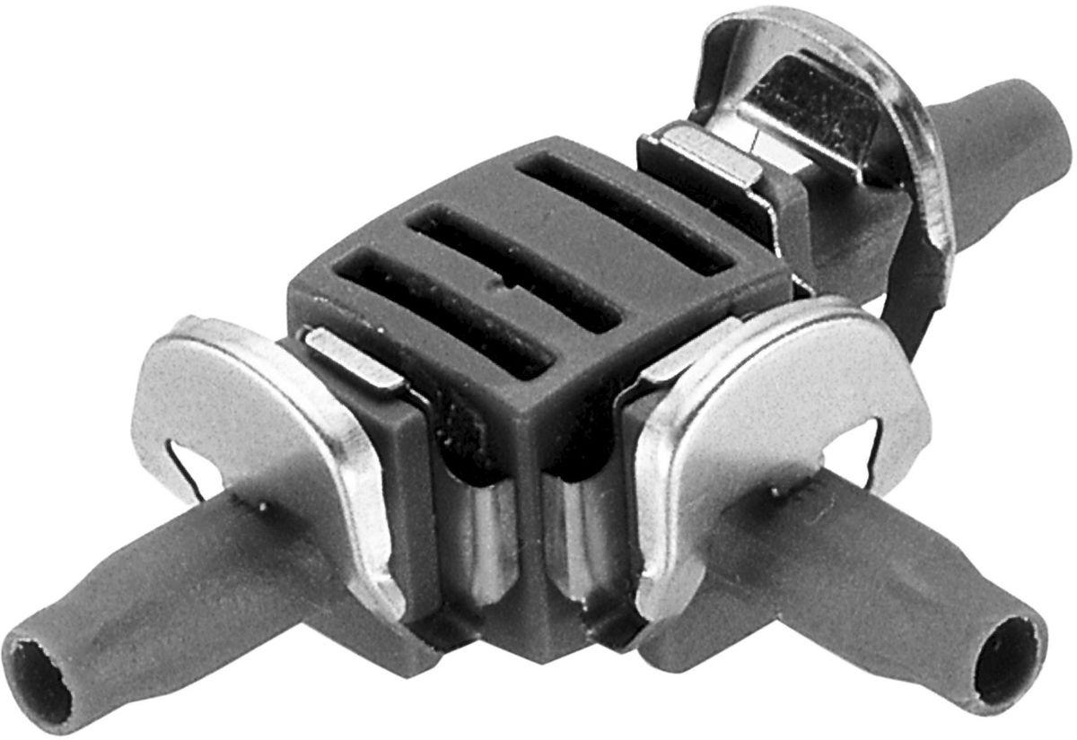 Соединитель Gardena, Т-образный, резьба 4,6 мм (3/16), 10 шт01250-29.000.00Соединитель Т-образный Gardena является элементом системы микрокапельного полива Gardena Micro-Drip-System и предназначен для разделения подающего шланга на несколько линий. Благодаря патентованной технологии быстрого подсоединения Quick & Easy, установка соединителя чрезвычайно проста. В комплект поставки входят десять Т-образных соединителей.