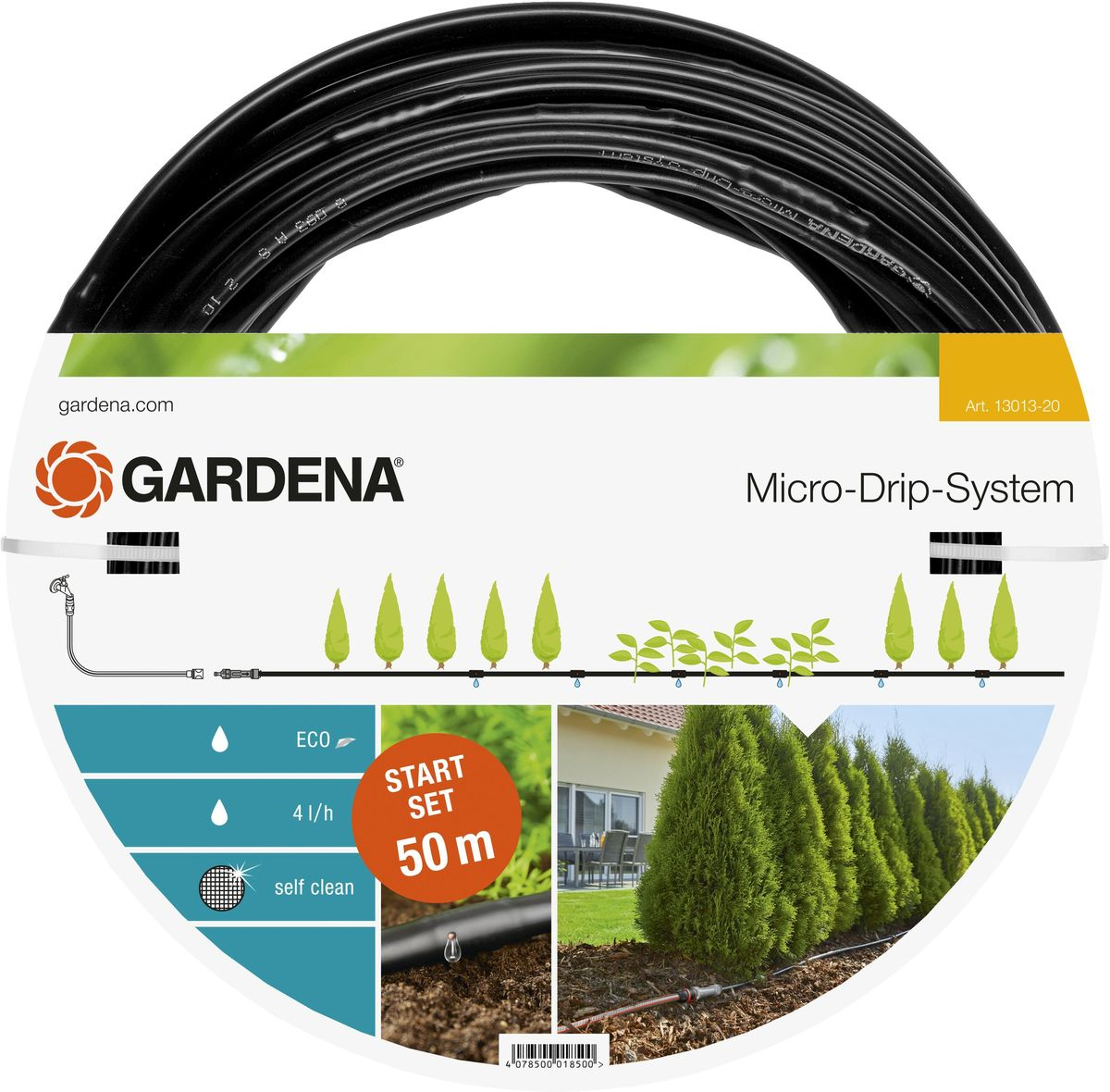 Шланг Gardena, сочащийся, с фитингами, для наземной прокладки, диаметр 13 мм (1/2), длина 50 мNap200 (40)Шланг сочащийся для наземной установки Gardena удобен для полива, например, изгороди. Расстояние между отверстиями составляет 30 см. Каждая капельница обеспечивает бережный полив с расходом воды 4 л/ч. Благодаря использованию инновационной лабиринтной технологии, капельницы являются самоочищающимися. При условии установки мастер-блока по центру длина шланга с помощью комплекта для удлинения может быть увеличена до 100 м. В комплекте: мастер-блок 1000, 50 м магистральный шланг 13 мм (1/2), заглушка 13 мм (1/2).