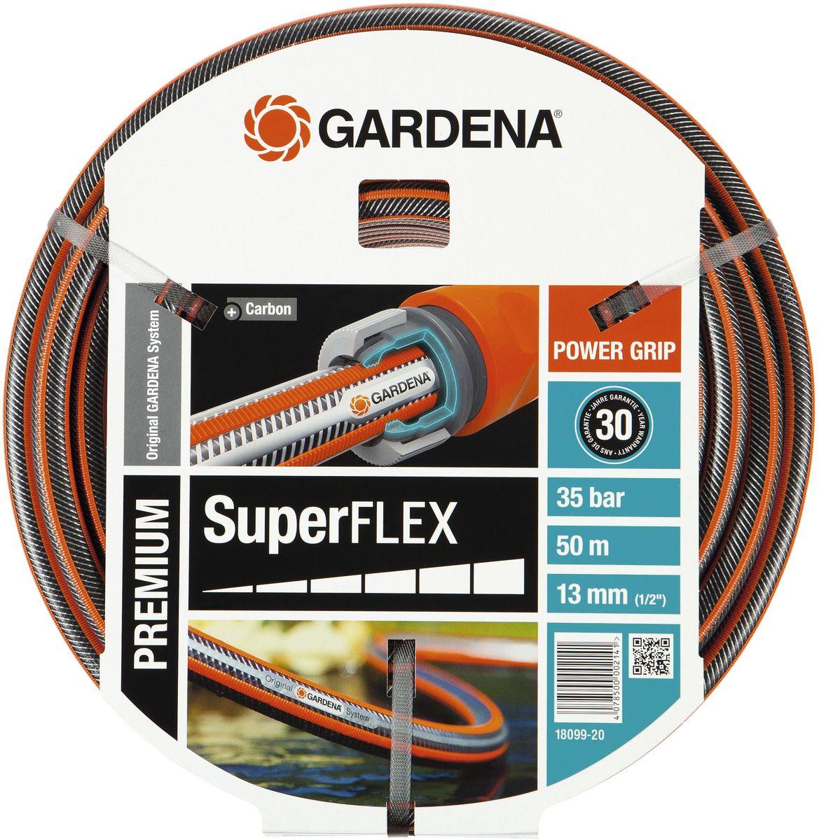 Шланг Gardena Superflex, диаметр 13 мм (1/2), длина 50 м00241-20.000.00Шланг Gardena Superflex изготовлен из высококачественных материалов и снабжен ребристым профилем PowerGrip, которое обеспечивает идеальное соединение с коннекторами базовой системы полива. Благодаря этому, эксплуатация шланга становится значительно проще. Текстильное спиралевидное армирование, усиленное углеродными волокнами, не дает шлангу перегибаться, перекручиваться и остается гибким. Шланг не содержит фталаты и тяжелые металлы, и невосприимчив к УФ-излучению. Толстые стенки обеспечивают долговечность и надежность.