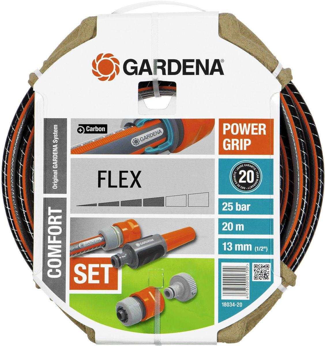 Шланг Gardena Flex, с аксессуарами, диаметр 1/2, длина 20 м96515412Шланг Gardena Flex имеет ребристый профиль Power Grip, который гарантирует идеальное соединение с коннекторами базовой системы полива. Текстильное армирование, усиленное углеродом, препятствует перегибанию, спутыванию и перекручиванию шланга во время эксплуатации. Отсутствие фталатов, тяжелых металлов и невосприимчивость к УФ-излучению делают шланг экологичным, а благодаря толстым стенкам он служит долго. Выдерживает высокое давление до 25 бар.В комплекте с данным шлангом поставляются соединительные элементы системы Original Gardena: резьбовой штуцер, адаптер, коннектор с автостопом и наконечник для полива.