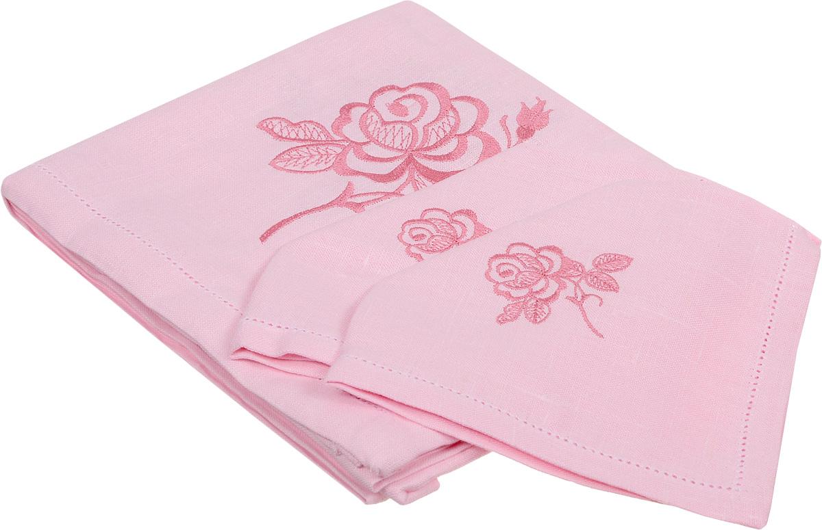 Комплект столового белья Гаврилов-Ямский Лен, цвет: розовый, 5 предметовVT-1520(SR)Комплект столового белья Гаврилов-Ямский Лен состоит из скатерти и 4 салфеток, изготовленных из 100% льна. Такой комплект станет отличным украшением интерьера столовой или кухни и придаст праздничный вид вашему обеденному столу. Изделия оформлены красивой цветочной вышивкой и ажурным краем, обладают плотной текстурой, высокой износостойкостью и прочностью.Лен - поистине уникальный природный материал, который отличается высокой экологичностью. Изделия изо льна обладают уникальными потребительскими свойствами. Скатерти из натурального льна придадут вашему дому уют и тепло натурального материала. История льна восходит к Древнему Египту: в те времена одежда изо льна считалась достойной фараонов! На Руси лен возделывали с незапамятных времен - изделия из льняной ткани считались показателем достатка, а льняная одежда служила символом невинности и нравственной чистоты. Размер скатерти: 100 х 100 см. Размер салфетки: 35 х 35 см.