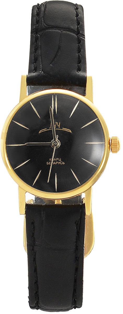 Наручные часы женские Луч Ретро, цвет: черный, золотистый. 717183658-2Элегантные женские кварцевые часы в ретро стилистике Луч Ретро с японским механизмом Miyota не оставят равнодушным. Круглый циферблат, прикрытый органическим стеклом имеет покрытие из твёрдого золота. Ремешок выполнен из натуральной кожи. Часы выдерживают воздействие многократных ударов с ускорением 150м/с при длительности ударов от 2 до 15 м/с. Продолжительность непрерывной работы 12 месяцев.