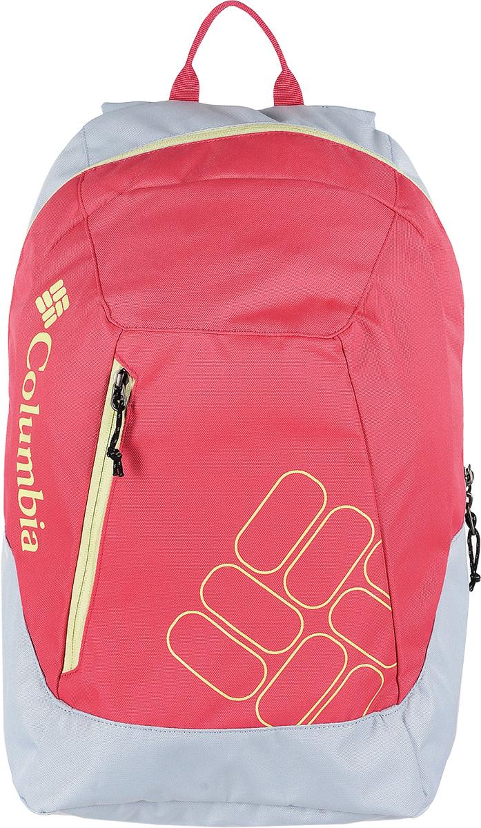 Рюкзак женский Columbia Quickdraw Daypack, цвет: розовый, светло-серый. 1587591-031967-637T-17s-01-42Стильный городской женский рюкзак Columbia Quickdraw Daypack выполнен из плотного полиэстера. Изделие имеет одно основное отделение, которое закрывается на застежку-молнию.Снаружи, на передней стенке расположен небольшой втачной карман на застежке-молнии.Рюкзак оснащен широкими мягкими регулирующими лямками и удобной ручкой для переноски в руках. Уплотненная мягкая спинка обеспечивает комфорт во время носки.Рюкзак оформлен надписью бренда.