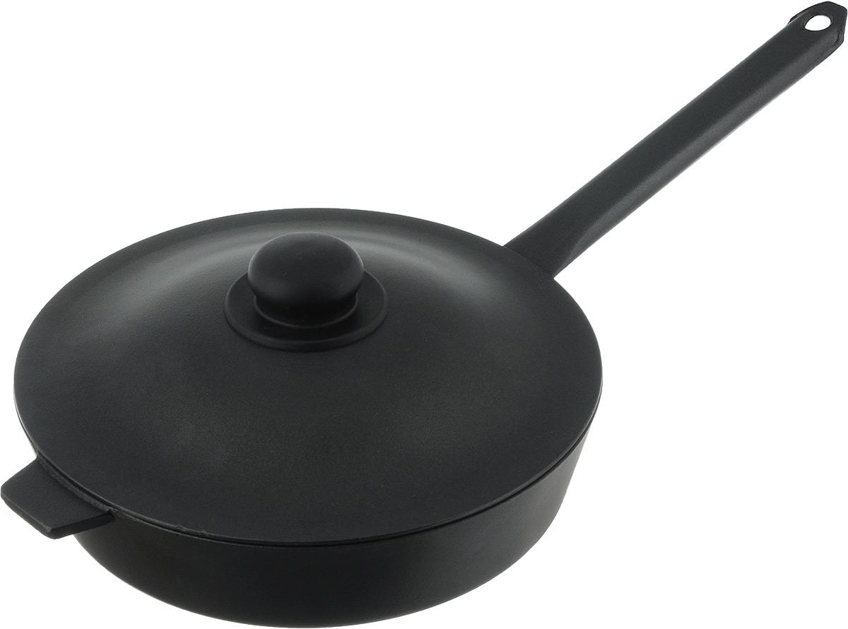 Сковорода Алита Хозяюшка с крышкой, с антипригарным покрытием. Диаметр 26 см54 009312Сковорода Алита Хозяюшка изготовлена из литого алюминия с внутренним антипригарным покрытием. Благодаря этому пища не пригорает и не прилипает к стенкам. Готовить можно с минимальным количеством масла и жиров. Гладкая поверхность обеспечивает легкость ухода за посудой.Сковорода оснащена крышкой, выполненной из алюминия.Подходит для использования на всех типах плит, кроме индукционных.Диаметр сковороды (по верхнему краю): 26 см.Высота стенки: 6 см.Длина ручки: 23 см.