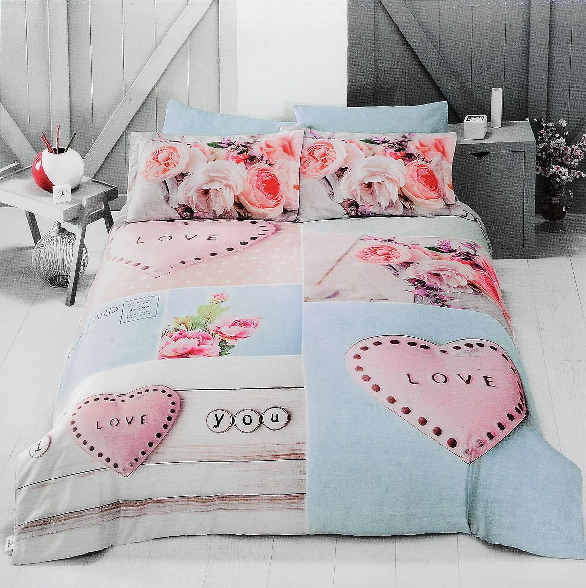 Комплект белья Clasy Love, евро, наволочки 50х70, цвет: голубой, розовый, бежевый391602Комплект постельного белья Clasy Love состоит из пододеяльника на пуговицах, простыни и 4 наволочек (2 стандартные и 2 с ушками). Изделия выполнены из сатина (100% хлопок). Ткань гладкая и имеет ровный матовый блеск. Секрет заключается в особенно плотном сатиновом переплетении. Несмотря на особую плотность, это постельное белье очень мягкое, спать на нем уютно и тепло. Ткань обладает отличными гигиеническими свойствами - гигроскопичностью, воздухопроницаемостью и гипоаллергенностью. Краска на сатине держится очень хорошо, новое белье не полиняет и со временем не станет выцветать. Такой комплект прослужит дольше любого другого хлопкового белья. Благодаря диагональному пересечению нитей ткань почти не мнется. В производстве белья используются только качественные безопасные импортные красители, которые не содержат вредных химических веществ и позволяют сохранить яркость красок после многократных стирок. Белье упаковано в подарочную картонную коробку.