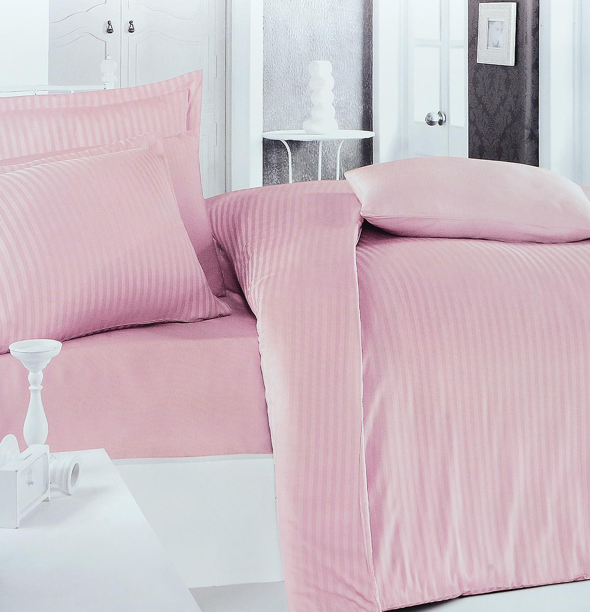 Комплект белья Clasy Stripe Satin, евро, наволочки 50х70, цвет: розовый391602Комплект постельного белья Clasy Stripe Satin состоит из пододеяльника на пуговицах, простыни и 4 наволочек (2 стандартные и 2 с ушками). Изделия выполнены из страйп-сатина (100% хлопок). Страйп-сатин - это очень прочная жаккардовая ткань из 100% хлопка. На вид он напоминает обычный сатин, но с полосками, которые появляются благодаря разному направлению нитей в ткани. Страйп-сатин универсален: он подойдет к любому интерьеру, прослужит вам долго, а рисунок никогда не поблекнет. Из страйп-сатина делают элитное постельное белье, по всем качествам его можно сравнить с самыми дорогими образцами хлопкового белья. Ткань гладкая и имеет ровный матовый блеск. Секрет заключается в особенно плотном сатиновом переплетении. Несмотря на особую плотность, это постельное белье очень мягкое, спать на нем уютно и тепло. Ткань обладает отличными гигиеническими свойствами - гигроскопичностью, воздухопроницаемостью и гипоаллергенностью. Страйп-сатин неприхотлив в уходе: почти не мнется, а стирать его можно при температуре до 60°C. В производстве белья используются только качественные безопасные импортные красители, которые не содержат вредных химических веществ и позволяют сохранить яркость красок после многократных стирок. Белье упаковано в подарочную картонную коробку.