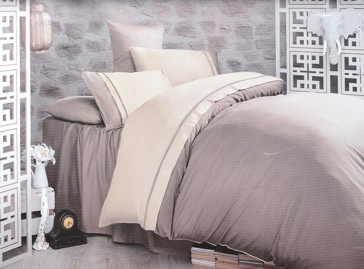 Комплект белья Clasy Kharma, евро, наволочки 50х70, цвет: бежевый, тауп02030816272Комплект постельного белья Clasy Kharma состоит из пододеяльника на пуговицах, простыни и 4 наволочек. Белье выполнено в двухцветном дизайне и декорировано контрастным кантом. Изделия выполнены из сатина (100% хлопок). Ткань гладкая и имеет ровный матовый блеск. Секрет заключается в особенно плотном сатиновом переплетении. Несмотря на особую плотность, это постельное белье очень мягкое, спать на нем уютно и тепло. Ткань обладает отличными гигиеническими свойствами - гигроскопичностью, воздухопроницаемостью и гипоаллергенностью. Краска на сатине держится очень хорошо, новое белье не полиняет и со временем не станет выцветать. Такой комплект прослужит дольше любого другого хлопкового белья. Благодаря диагональному пересечению нитей ткань почти не мнется. В производстве белья используются только качественные безопасные импортные красители, которые не содержат вредных химических веществ и позволяют сохранить яркость красок после многократных стирок. Белье упаковано в подарочную картонную коробку.