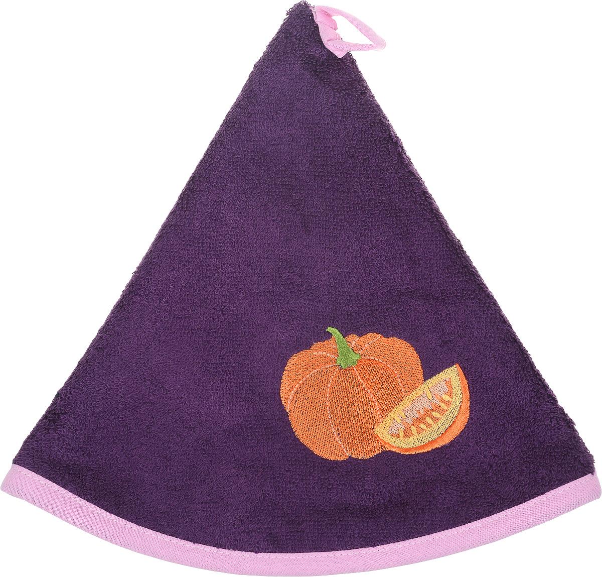 Полотенце кухонное Karna Zelina. Тыква, цвет: фиолетовый, диаметр 50 смVT-1520(SR)Круглое кухонное полотенце Karna Zelina. Тыква изготовлено из махровой ткани (100% хлопок), поэтому является экологически чистым. Качество материала гарантирует безопасность не только взрослым, но и самым маленьким членам семьи. Изделие мягкое и пушистое, оснащено удобной петелькой и украшено оригинальной вышивкой. Полотенце хорошо впитывает влагу, легко стирается в стиральной машине и обладает высокой износоустойчивостью. Кухонное полотенце Karna сделает интерьер вашей кухни стильным и гармоничным.Диаметр полотенца: 50 см.