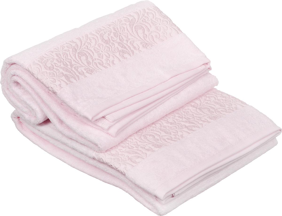 Набор полотенец Issimo Home Valencia, цвет: светло-розовый, 90 х 150 см, 2 шт10503Набор Issimo Home Valencia состоит из 2 банных полотенец, выполненных из бамбука с добавлением хлопка. Красивый жаккардовый бордюр с цветочным орнаментом выполнен в цвет полотенец. Полотенца из бамбука только издали похожи на обычные. На самом деле, при первом же прикосновении вы ощутите, насколько эти полотенца мягкие и нежные. Таким полотенцем не нужно вытираться: только коснитесь кожи, и ткань сама все впитает. Такая ткань впитывает в 3 раза лучше, чем хлопок. Несмотря на богатую плотность и высокую петлю полотенца быстро сохнут, остаются легкими даже при намокании.