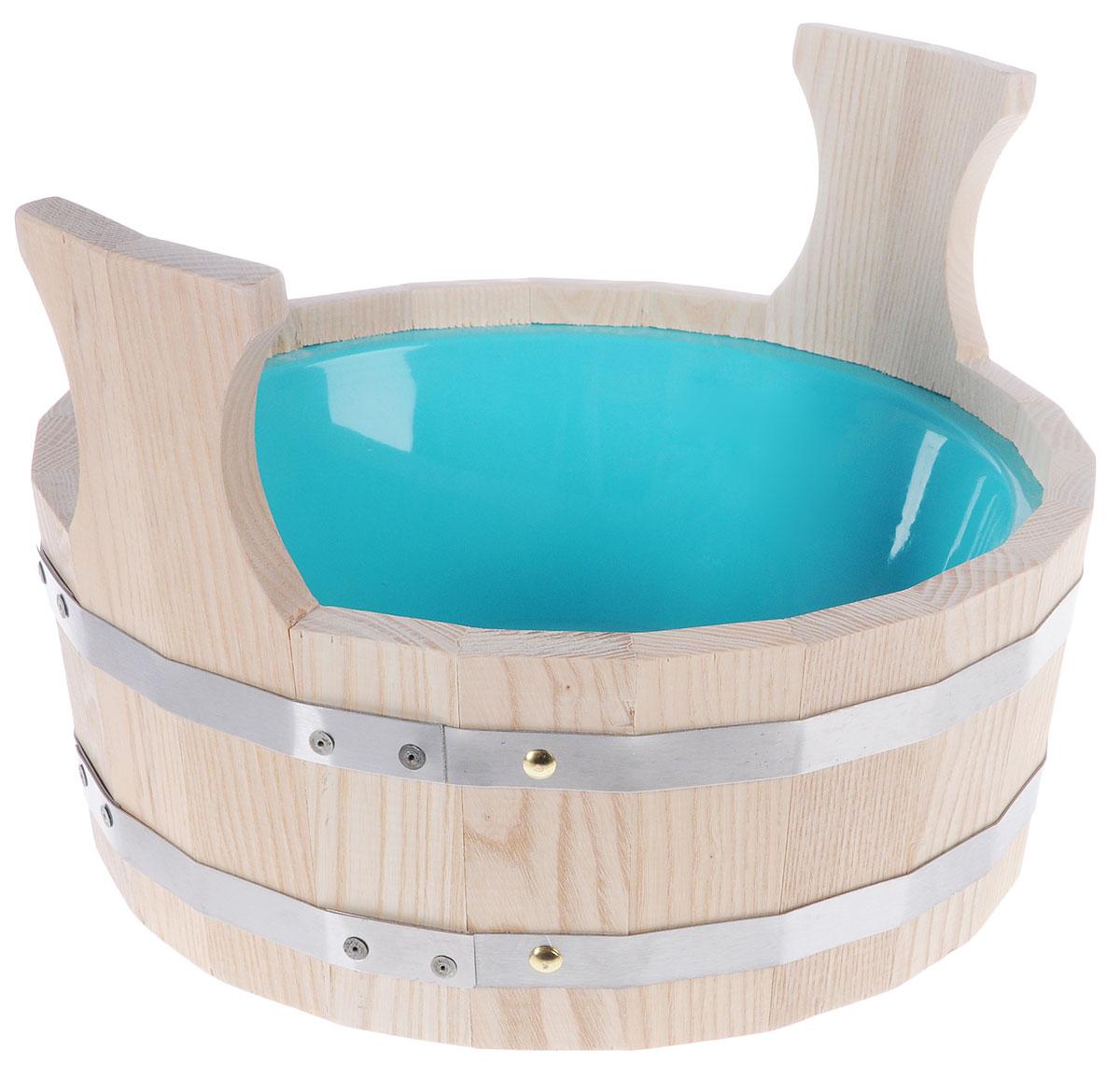 """Шайка для бани """"Невский банщик"""", с пластиковым вкладышем, цвет: бежевый, бирюзовый, 4,5 л"""