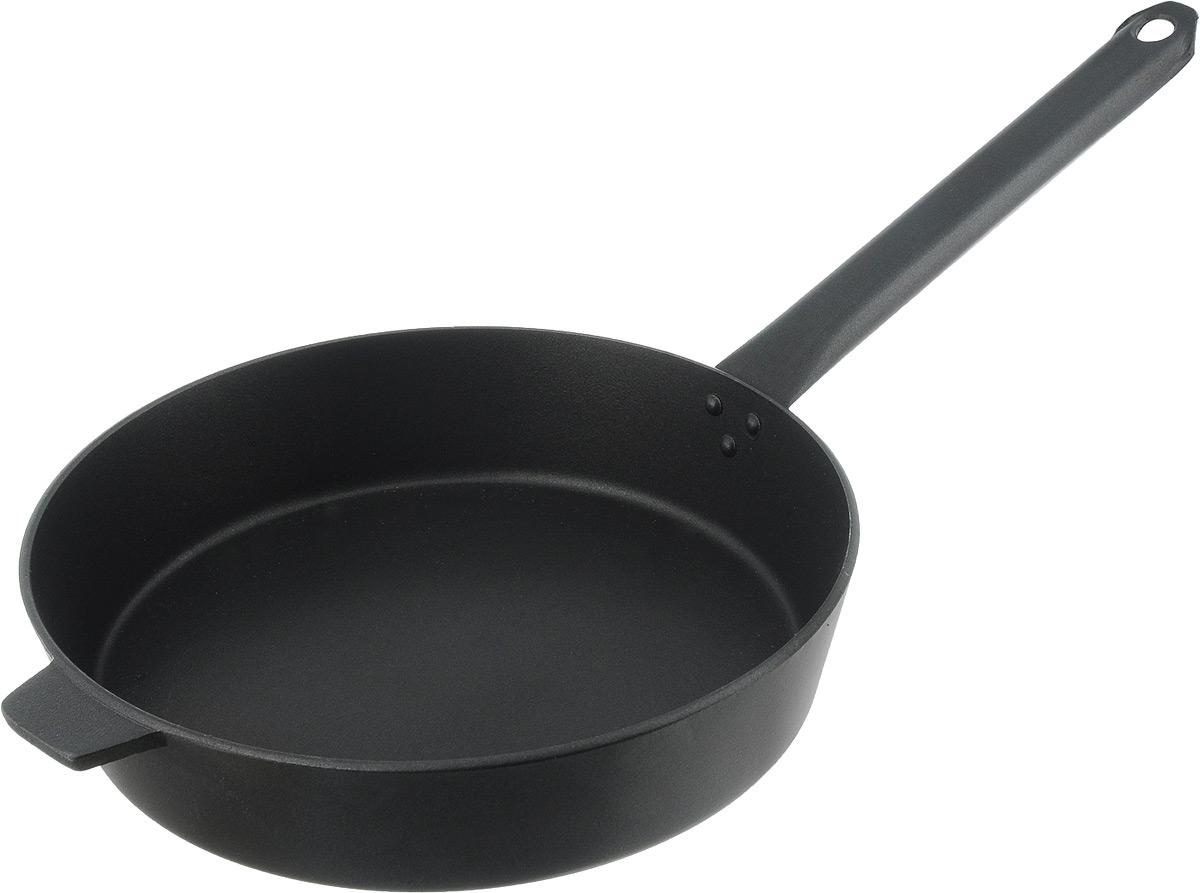 Сковорода Алита Хозяюшка с антипригарным покрытием. Диаметр 26 смHP-20-IСковорода Алита Хозяюшка изготовлена из литого алюминия с внутренним антипригарным покрытием. Благодаря этому пища не пригорает и не прилипает к стенкам. Готовить можно с минимальным количеством масла и жиров. Гладкая поверхность обеспечивает легкость ухода за посудой.Подходит для использования на всех типах плит, кроме индукционных.Диаметр сковороды (по верхнему краю): 26 см.Высота стенки: 5,5 см.Длина ручки: 23 см.