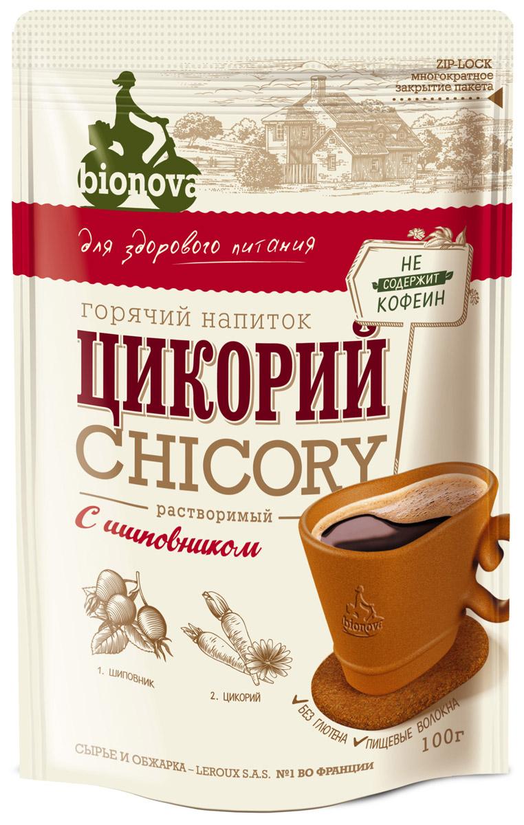 Bionova напиток из цикория с шиповником, 100 г4607013791497Горячий напиток для здорового питания, изготовленный из корней цикория, выращенных и обработанных по уникальной технологии производства компании LEROUX (Франция), и экстракта ягод шиповника. Преимущества:• Содержит экстракт шиповника, который:- богат витамином С- богат природными антиоксидантами- обладает фитонцидными и бактерицидными свойствами.• Содержит витамины и минералы• Не содержит кофеин, не повышает артериальное давление• Содержит инулин - растительное пищевое волокно (в 1 порции 48% инулина от суточной нормы), которое:- улучшает микрофлору кишечника- стимулирует рост и активность полезных бифидобактерий- улучшает усвоение организмом кальция• Рекомендуемая Институтом Питания РАМН величина суточного потребления инулина составляет 2,5 г, что соответствует 6 чайным ложкам цикория BIONOVА• Не содержит ГМО• Без глютена