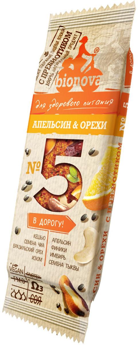 Bionova фруктово-ореховый батончик с апельсином, 35 г bona vita батончик ореховый с семенами подсолнечника орехами и медом в шоколадной глазури 35 г