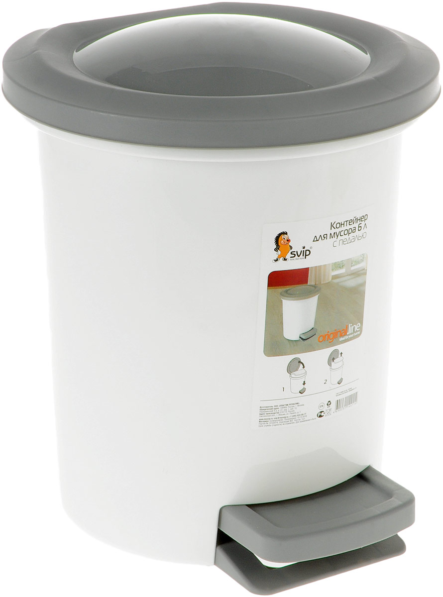 Контейнер для мусора Svip Ориджинал, с педалью, цвет: белый, серый, 6 лДВ1_макаруны голубыеМусорный контейнер Svip Ориджинал поможет поддержать порядок и чистоту на кухне, в туалетной комнате или в офисе. Изделие, выполненное из полипропилена, не боится ударов и долгих лет использования. Практичный контейнер для мусора оснащен удобной педалью, с помощью которой можно открыть крышку. Изделие оснащено внутренним ведром-вставкой с удобными скрытыми ручками, которое при необходимости можно достать из контейнера. Закрывается крышка практически бесшумно, плотно прилегает, предотвращаяраспространение запаха. Эстетика изделия превращает необходимый предмет кухни или туалетной комнаты в стильное дополнение к интерьеру. Его легкость и прочность оптимально решают проблему сбора мусора.