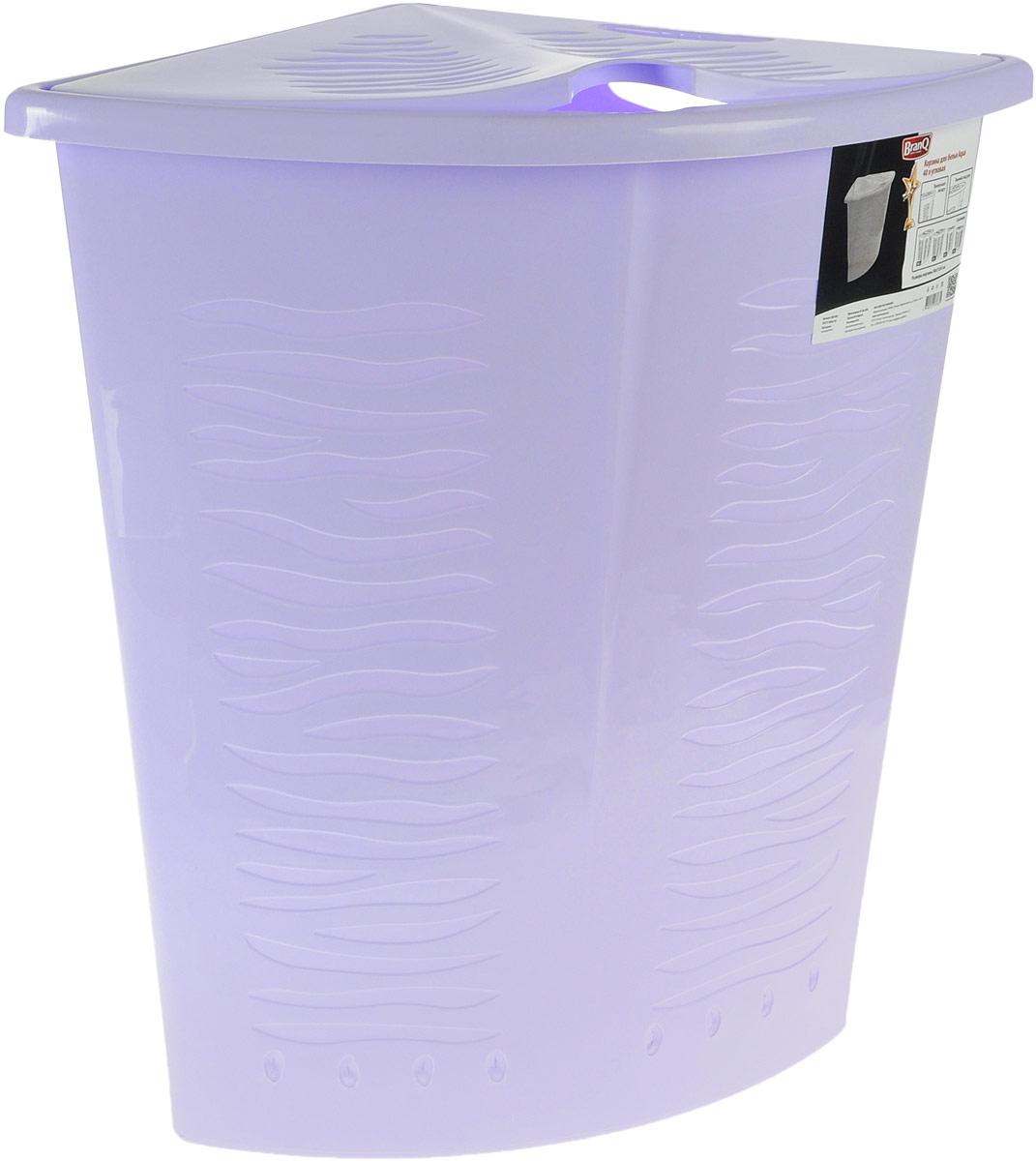 Корзина для белья BranQ Aqua, угловая, цвет: лавандовый, 40 л391602Угловая корзина для белья BranQ Aqua изготовлена из прочного полипропилена и оформлена перфорированными отверстиями, благодаря которым обеспечивается естественная вентиляция. Изделие идеально подходит для небольших ванных комнат. Корзина оснащена крышкой и ручкой для переноски. На крышке имеется выемка для удобного открывания крышки. Такая корзина для белья прекрасно впишется в интерьер ванной комнаты.