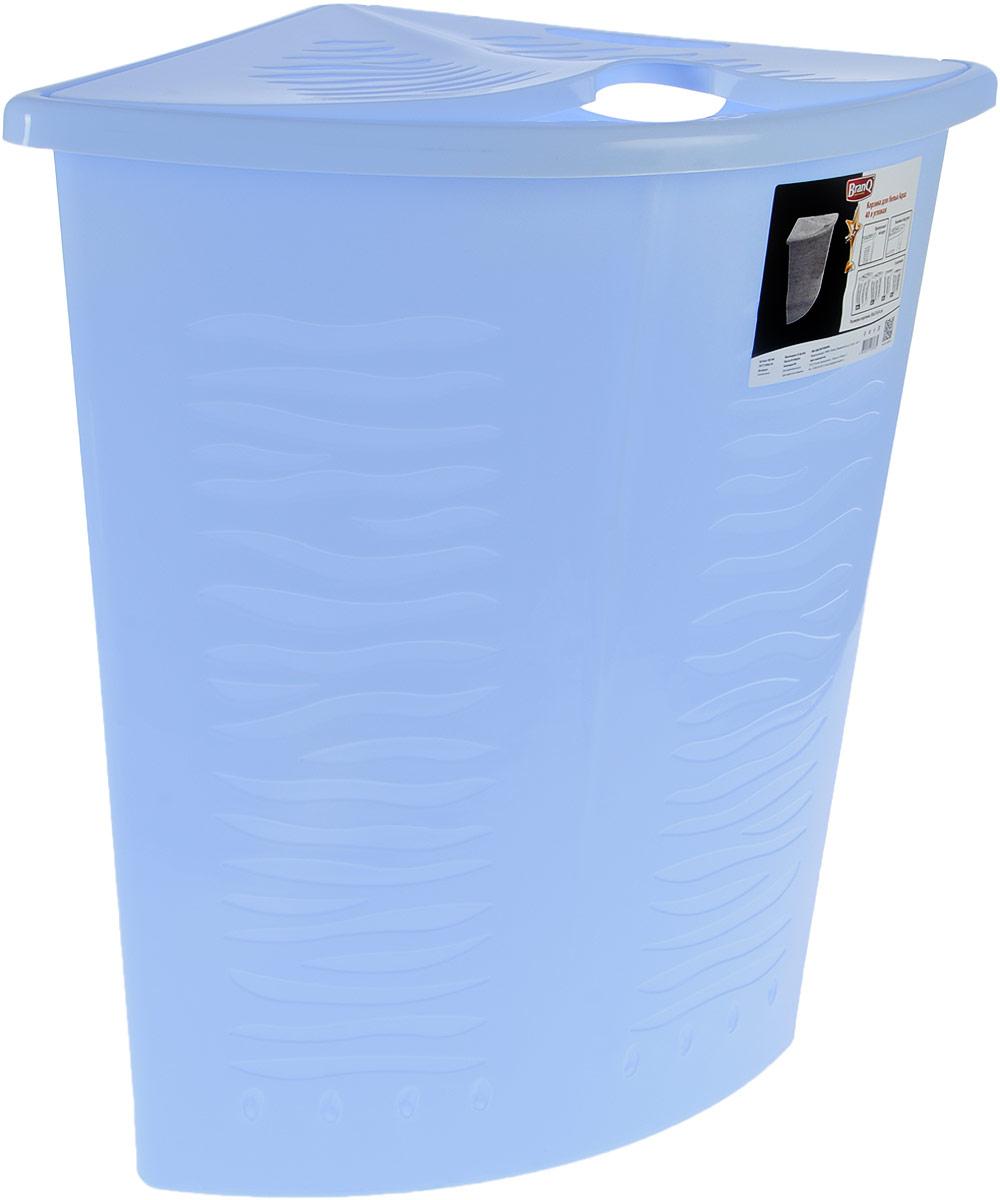 Корзина для белья BranQ Aqua, угловая, цвет: голубой, 40 л391602Угловая корзина для белья BranQ Aqua изготовлена из прочного полипропилена и оформлена перфорированными отверстиями, благодаря которым обеспечивается естественная вентиляция. Изделие идеально подходит для небольших ванных комнат. Корзина оснащена крышкой и ручкой для переноски. На крышке имеется выемка для удобного открывания крышки. Такая корзина для белья прекрасно впишется в интерьер ванной комнаты.