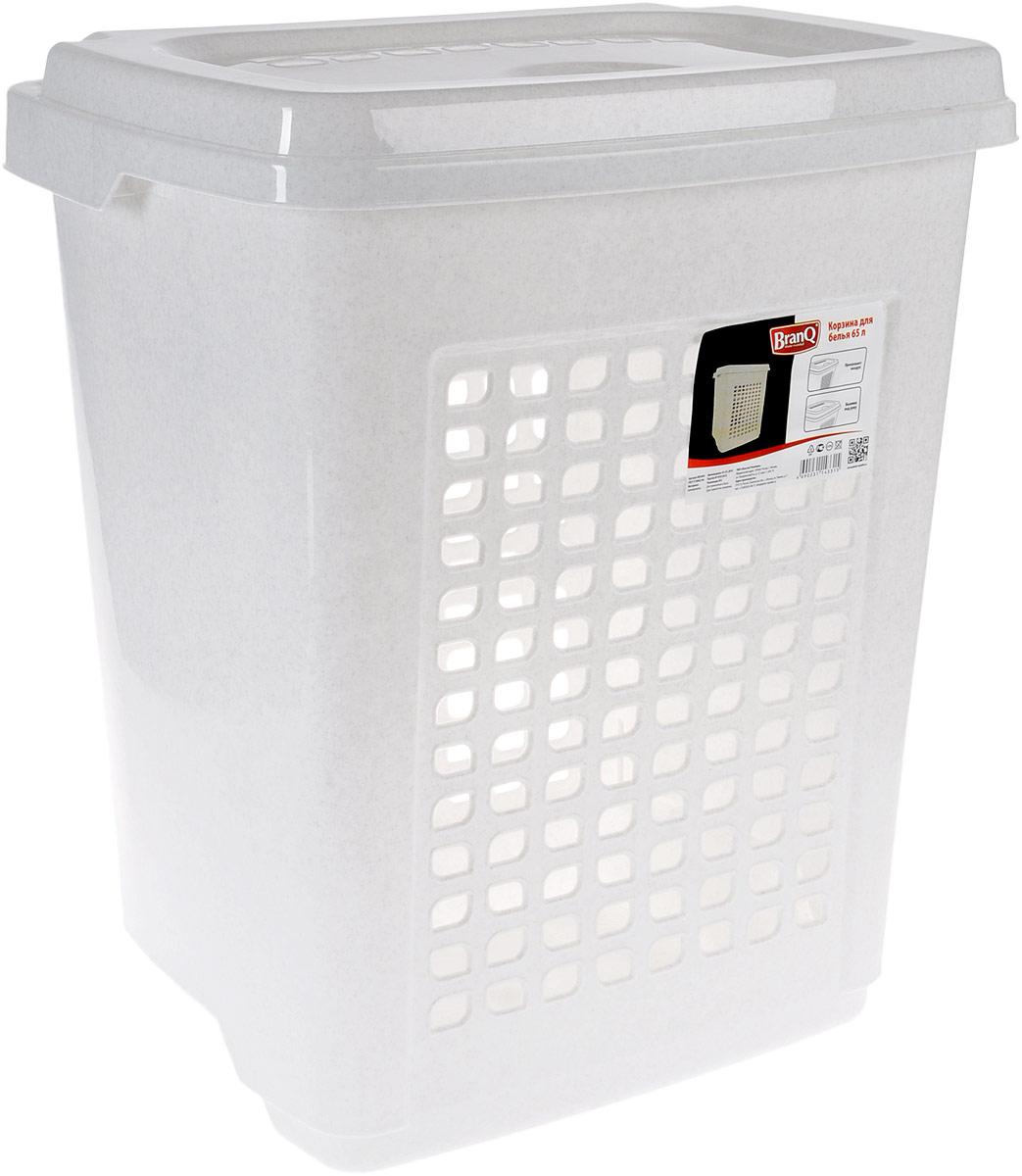 Корзина для белья BranQ, цвет: мраморный, 65 л531-105Корзина для белья BranQ изготовлена из прочного пластика и оформлена перфорированными отверстиями, благодаря которым обеспечивается естественная вентиляция. Корзина оснащена крышкой, на которой имеется выемка для удобного открывания. Такая корзина для белья прекрасно впишется в интерьер ванной комнаты.